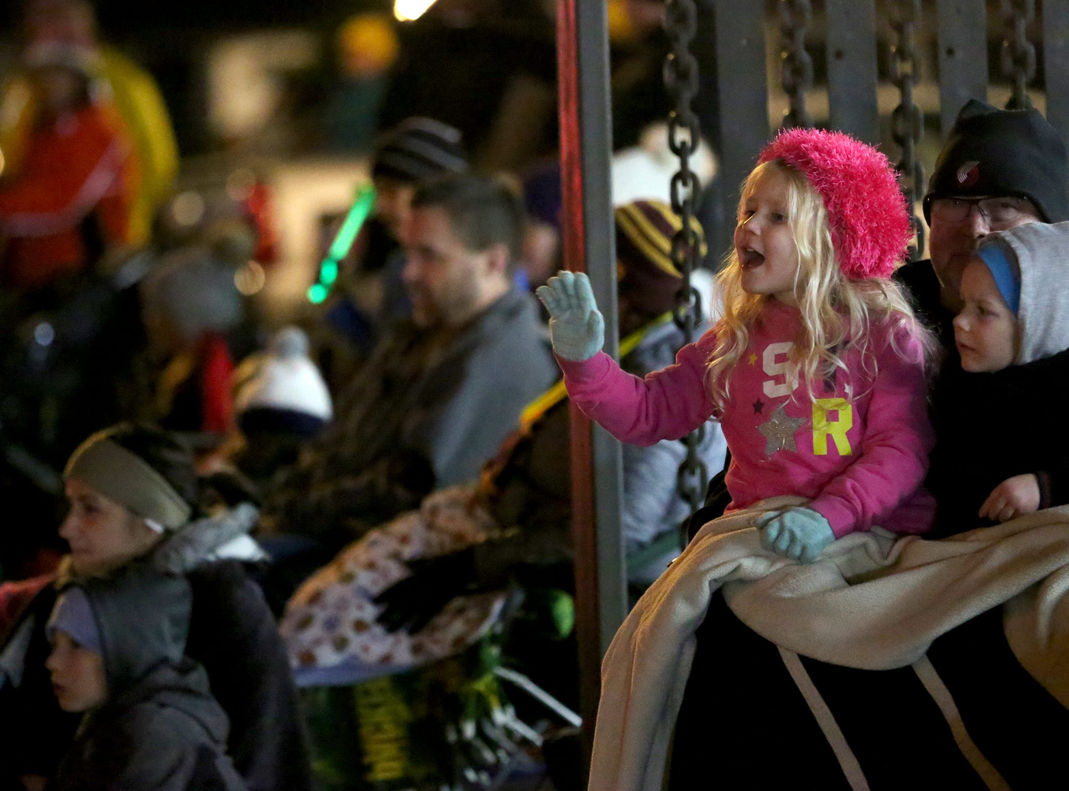 Parade attendees are shown at the Keizer Holiday Lights Parade in Keizer on Saturday, Dec. 8, 2018.