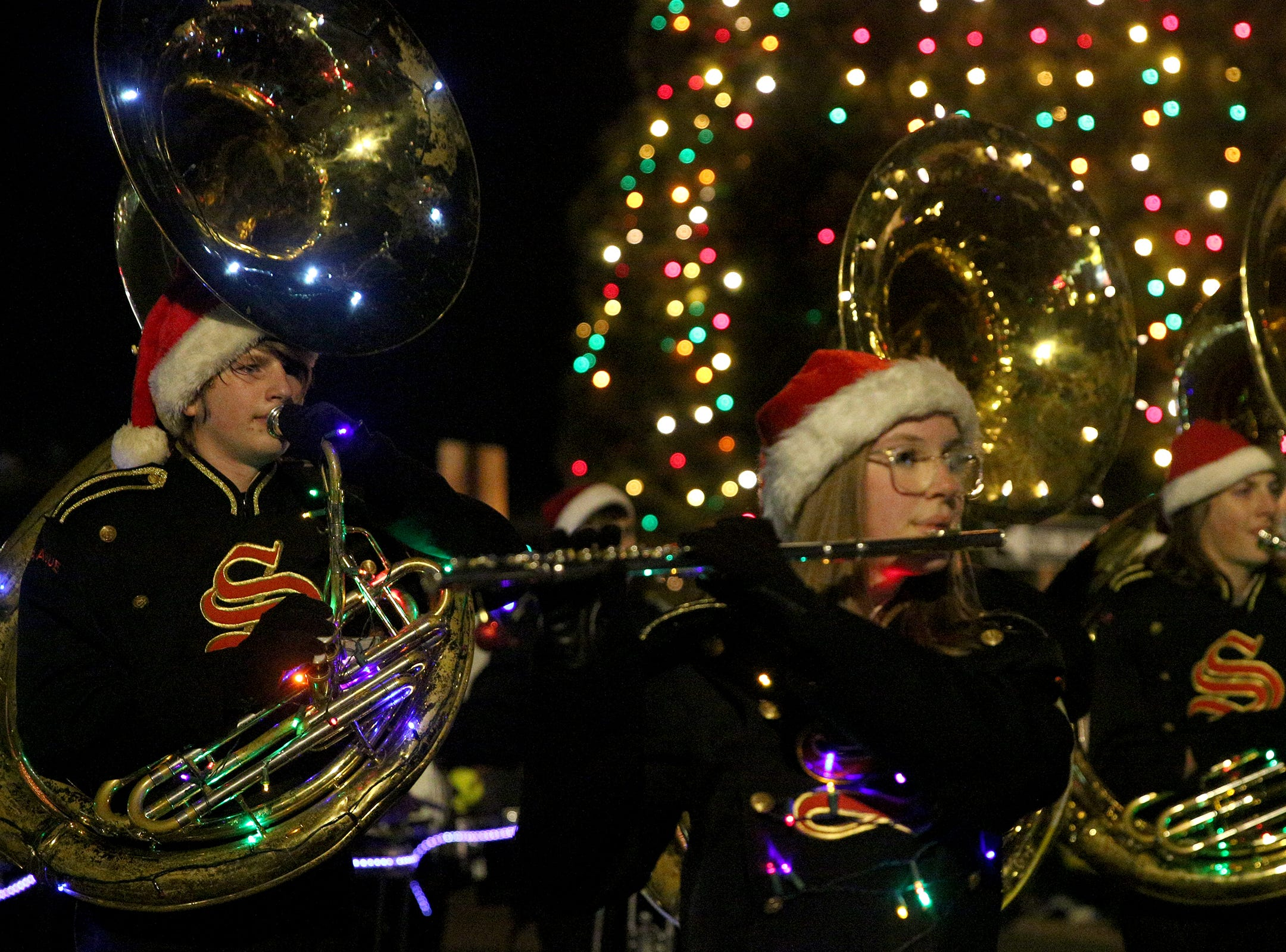 Sprague High School's marching band participates in the Keizer Holiday Lights Parade in Keizer on Saturday, Dec. 8, 2018.