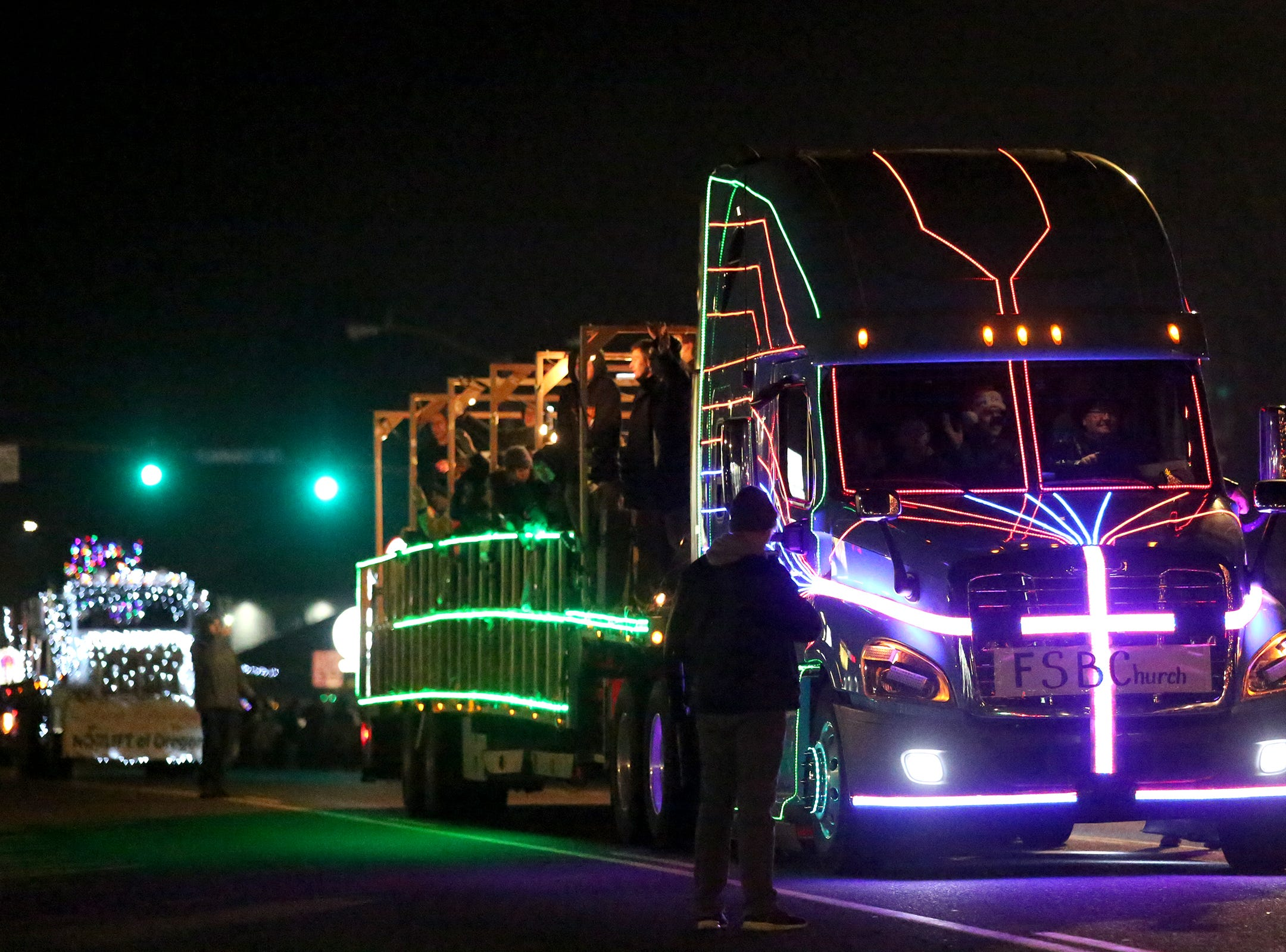 FSB Church showcases their float during the Keizer Holiday Lights Parade in Keizer on Saturday, Dec. 8, 2018.