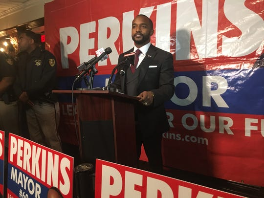 Adrian Perkins speaks to supporters after winning election as Shreveport's mayor, during a party Saturday, Dec. 8, at the Remington Suite Hotel.