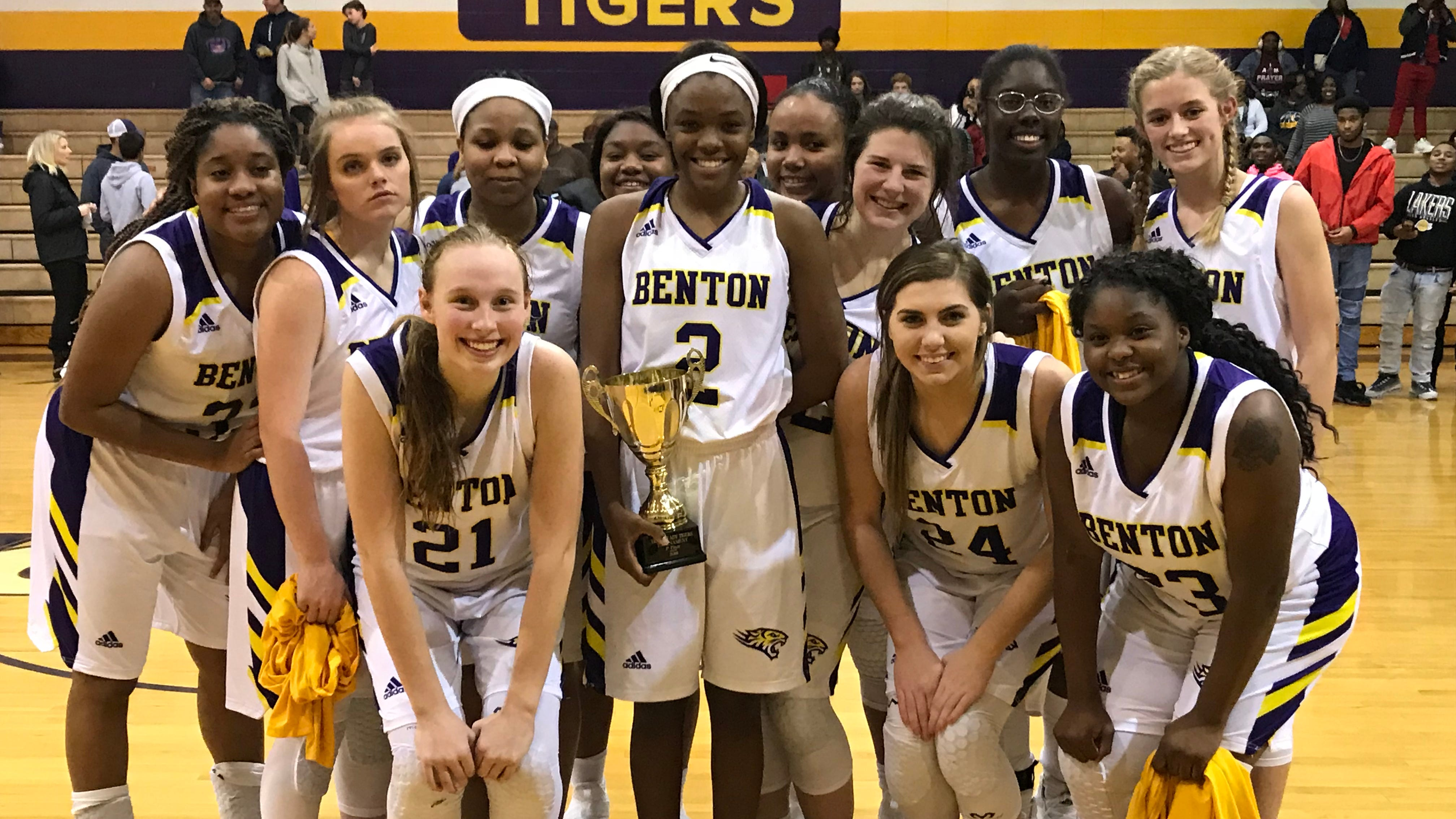 The Benton girls basketball team captured first place in their own tournament Saturday with a 74-57 win over Ouachita. The Lady Tigers are 12-0.