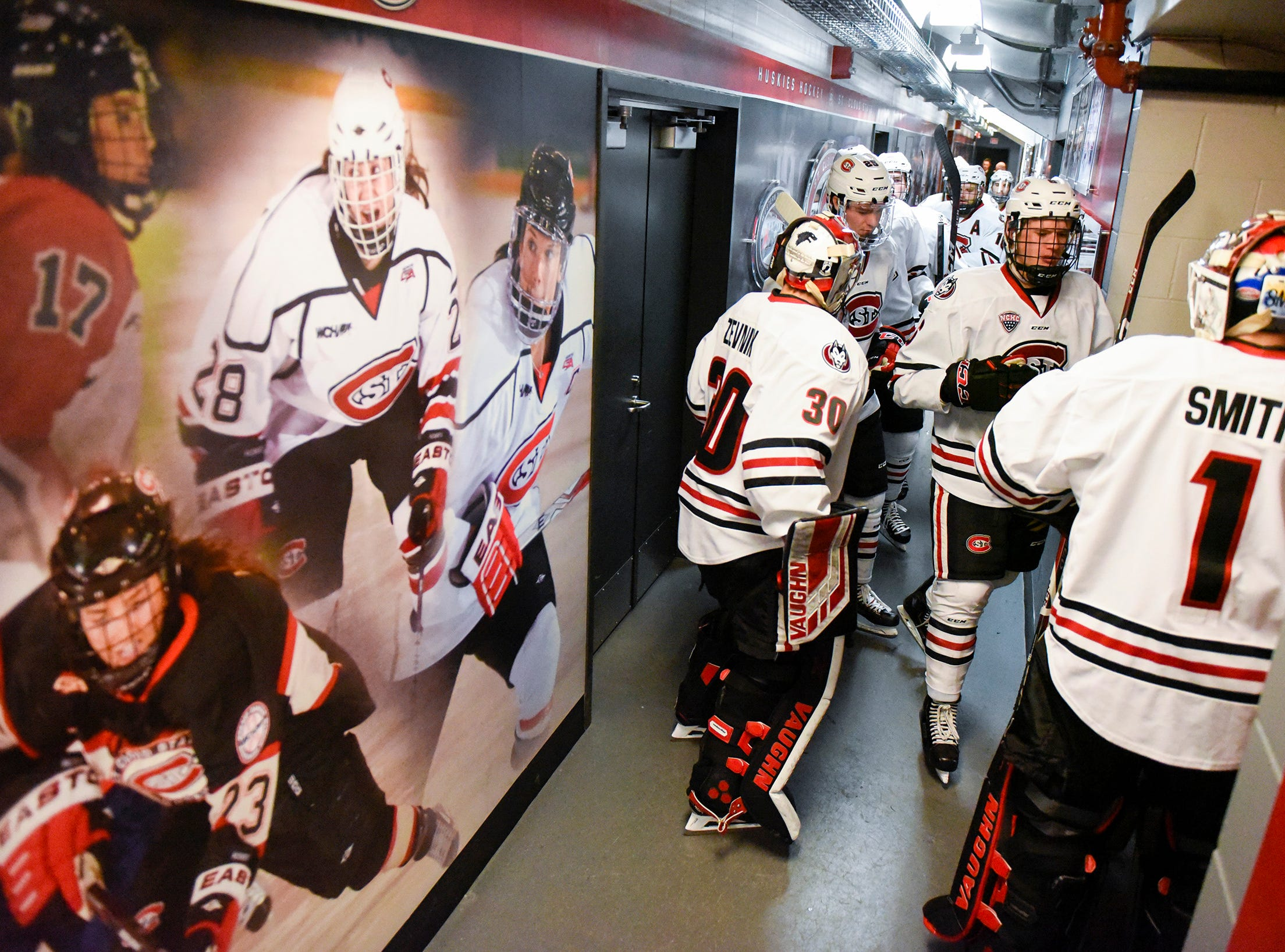St. Cloud State goes back on the ice for the start of the second period against Nebraska-Omaha Saturday, Dec. 8, at the Herb Brooks National Hockey Center.