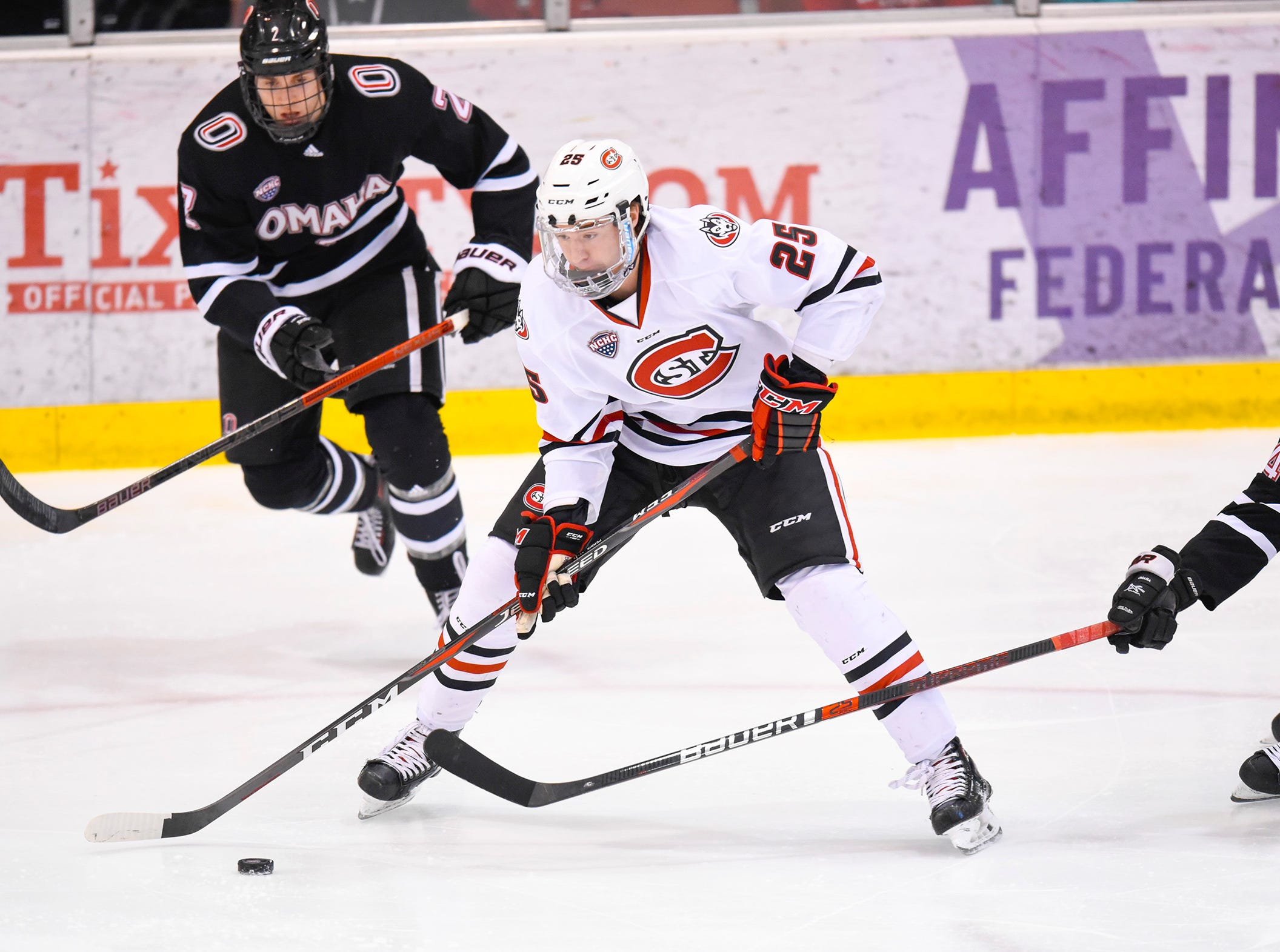 St. Cloud State's Nick Perbix skates toward the Nebraska-Omaha goal during the first period Saturday, Dec. 8, at the Herb Brooks National Hockey Center.