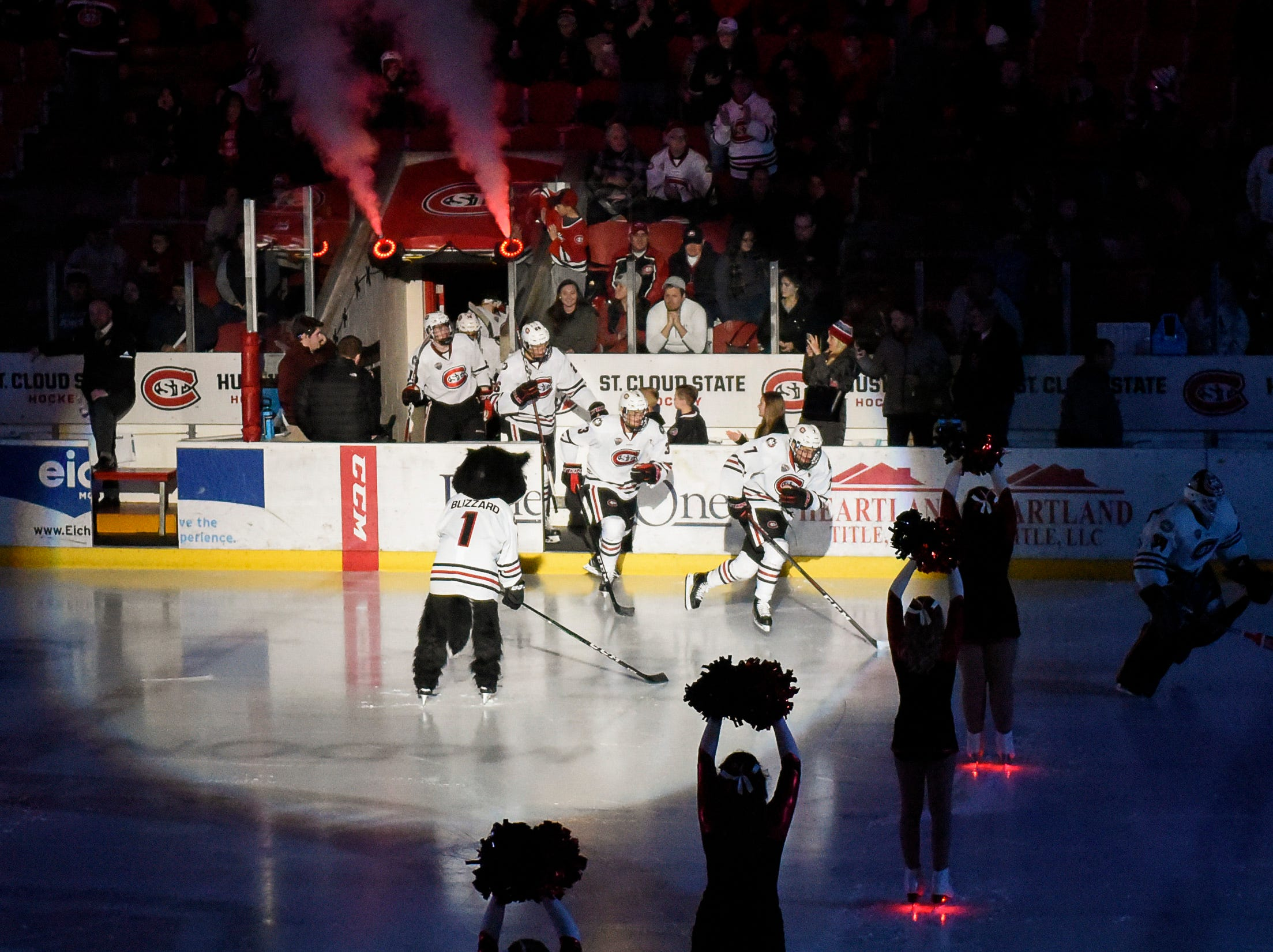 St. Cloud State takes the ice for the start of their game against Nebraska-Omaha Saturday, Dec. 8, at the Herb Brooks National Hockey Center.