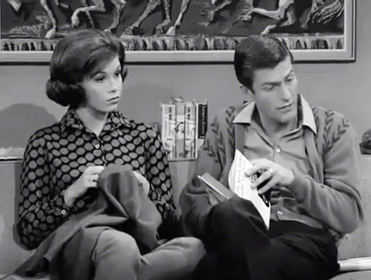 """The black and white version of a scene from the """"Where Did I Come From?"""" episode of """"The Dick Van Dyke Show."""""""