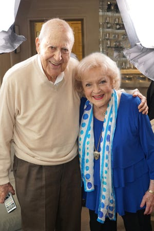 "Carl Reiner interviews Betty White in his DVD ""If You're Not In The Obit, Eat Breakfast."""