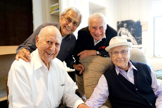 "Carl Reiner (left) interviews George Shapiro, Mel Brooks and Norman Lear in his new DVD ""If You're Not in the Obit, Eat Breakfast."""