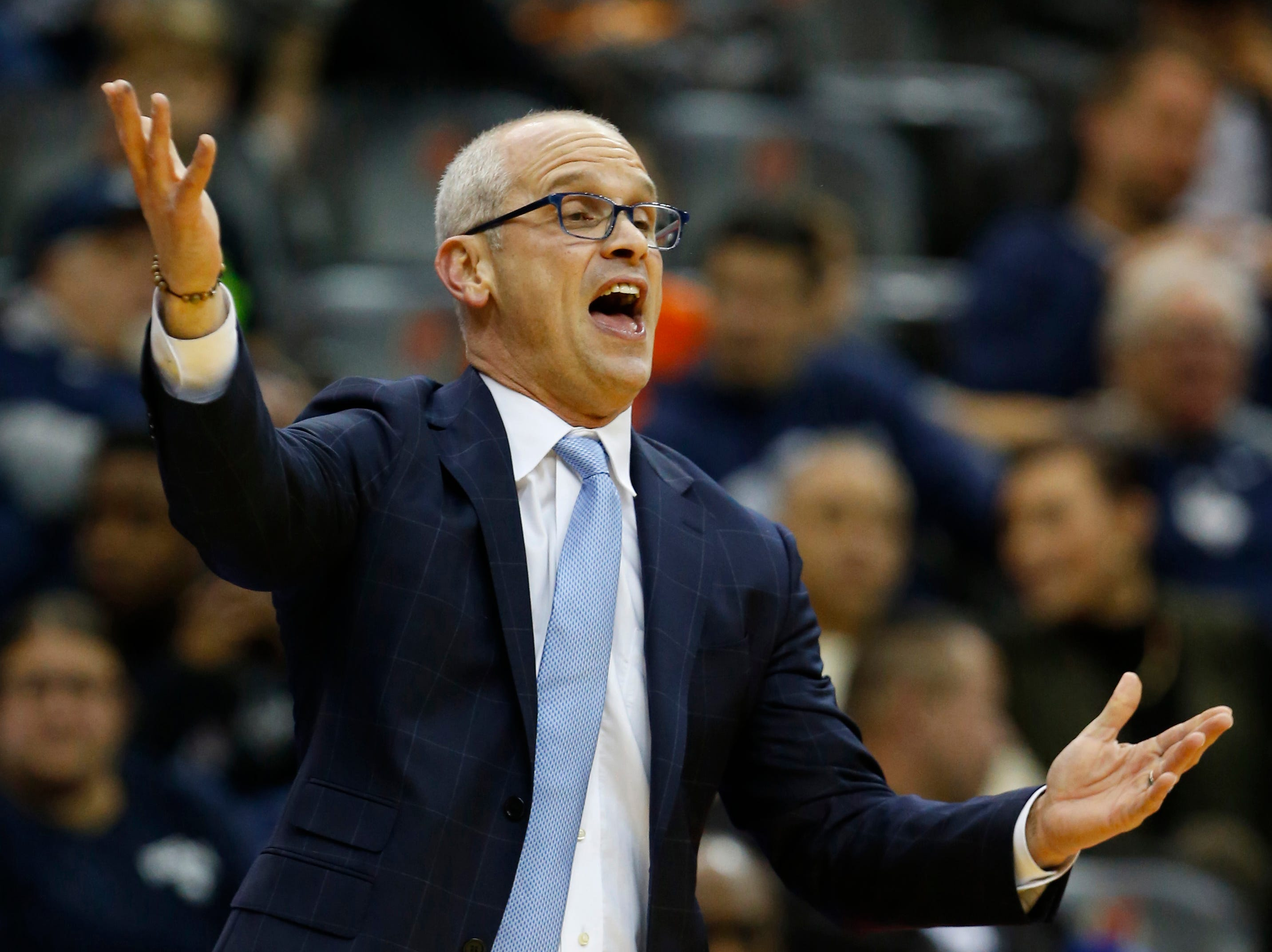 Dec 8, 2018; Newark, NJ, USA; Connecticut Huskies head coach Dan Hurley reacts to game action against the Florida State Seminoles during the first half at Prudential Center. Mandatory Credit: Noah K. Murray-USA TODAY Sports