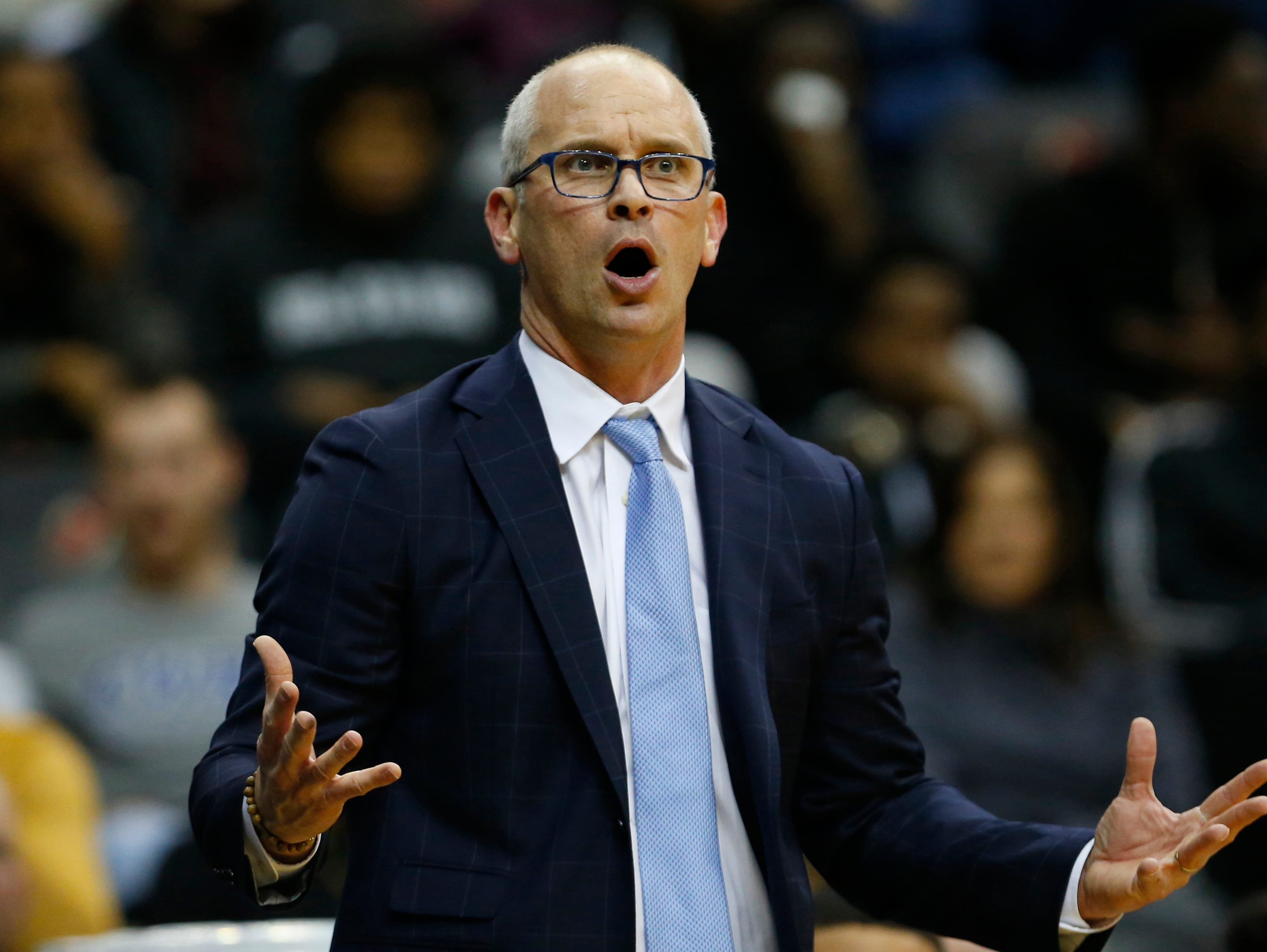 Dec 8, 2018; Newark, NJ, USA; Connecticut Huskies head coach Dan Hurley reacts to a call against the Huskies during the first half against the Florida State Seminoles at Prudential Center. Mandatory Credit: Noah K. Murray-USA TODAY Sports