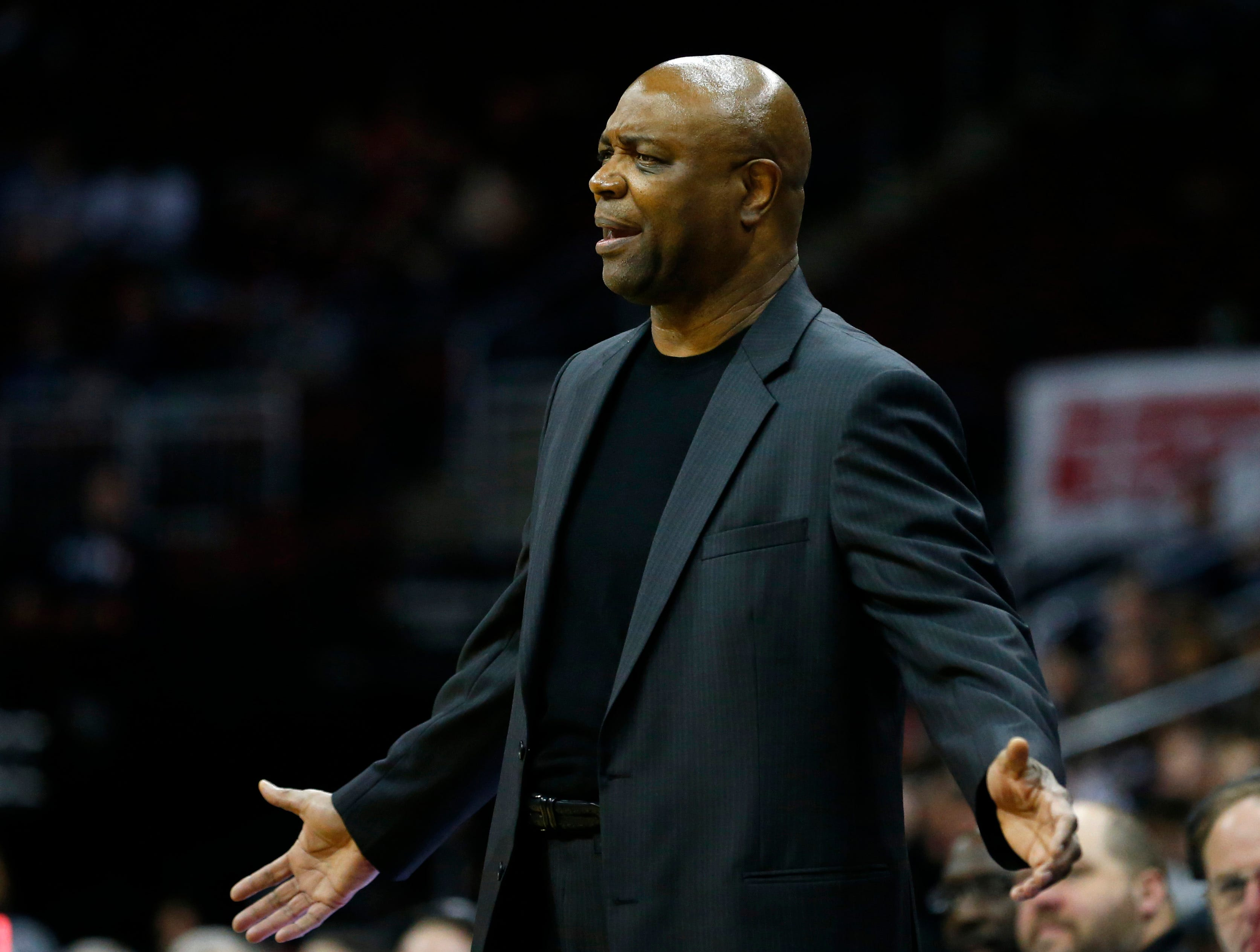 Dec 8, 2018; Newark, NJ, USA; Florida State Seminoles head coach Leonard Hamilton reacts on the sidelines against the Connecticut Huskies during the second half at Prudential Center. Mandatory Credit: Noah K. Murray-USA TODAY Sports