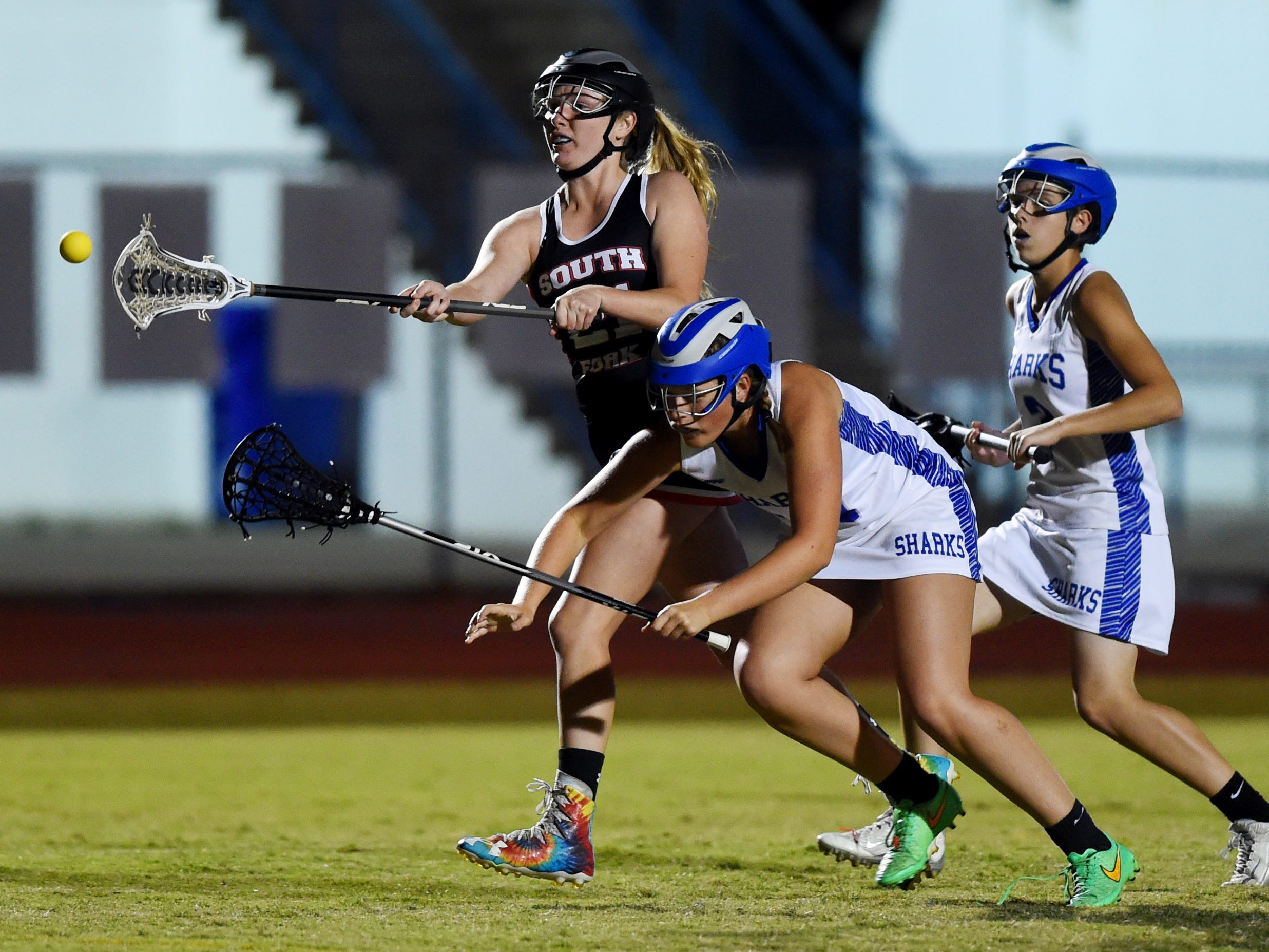 South Fork High School's Ashlyn Sturgill puts a shot on goal Monday, March 5, 2018 during a game against Sebastian River. Southfork won the game 10-9. To see more photos, visit TCPalm.comCQ: Ashlyn Sturgill
