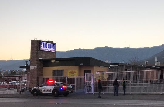 El Paso police investigate a shooting Saturday at the Studio and Rooms motel on Dyer Street.
