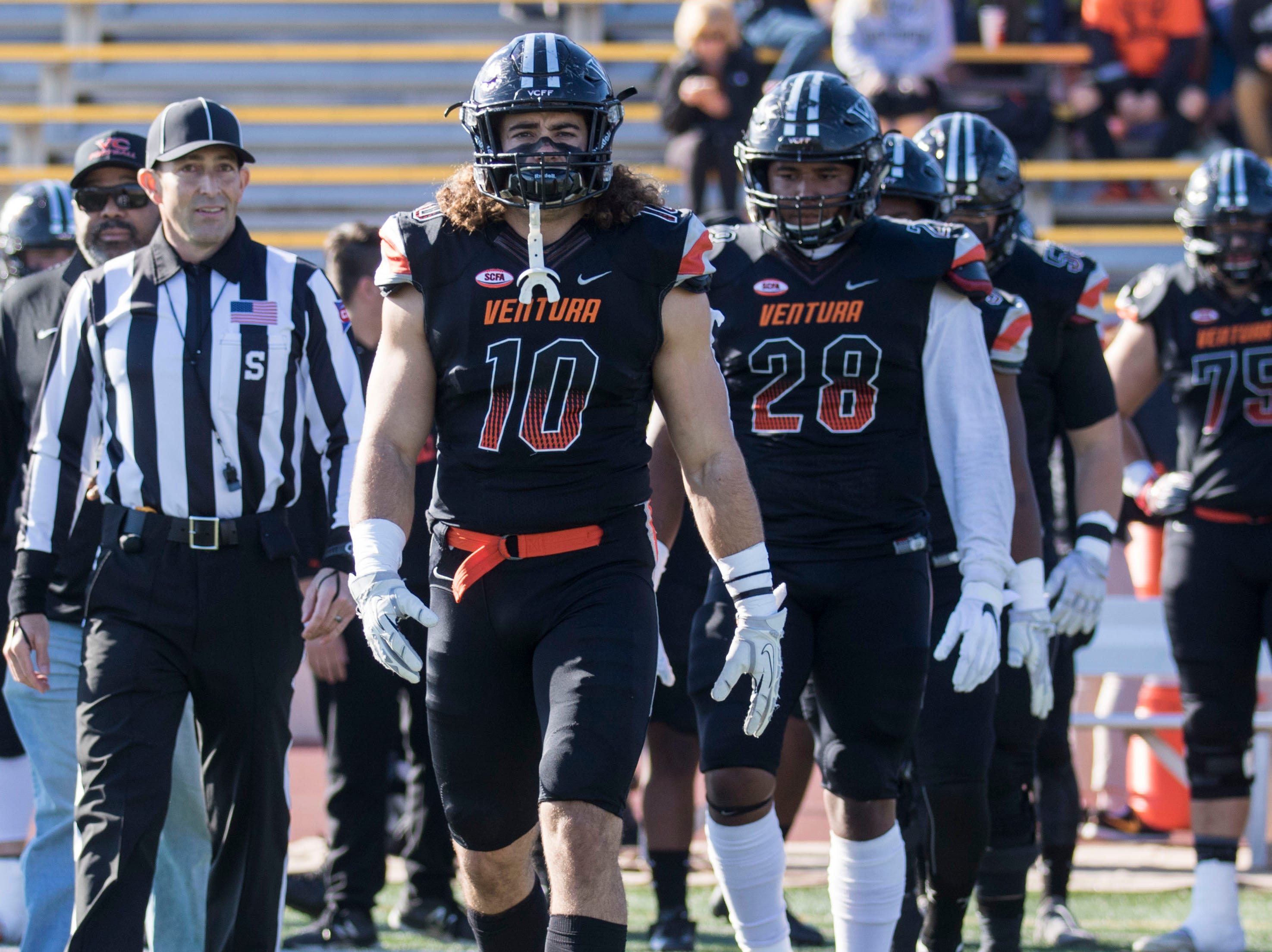Linebackers Trennan Carlson (left) and Dondre Baker led the Ventura College defense to its first appearance in the CCCAA state championship game on Saturday afternoon at Sacramento City's Hughes Stadium.