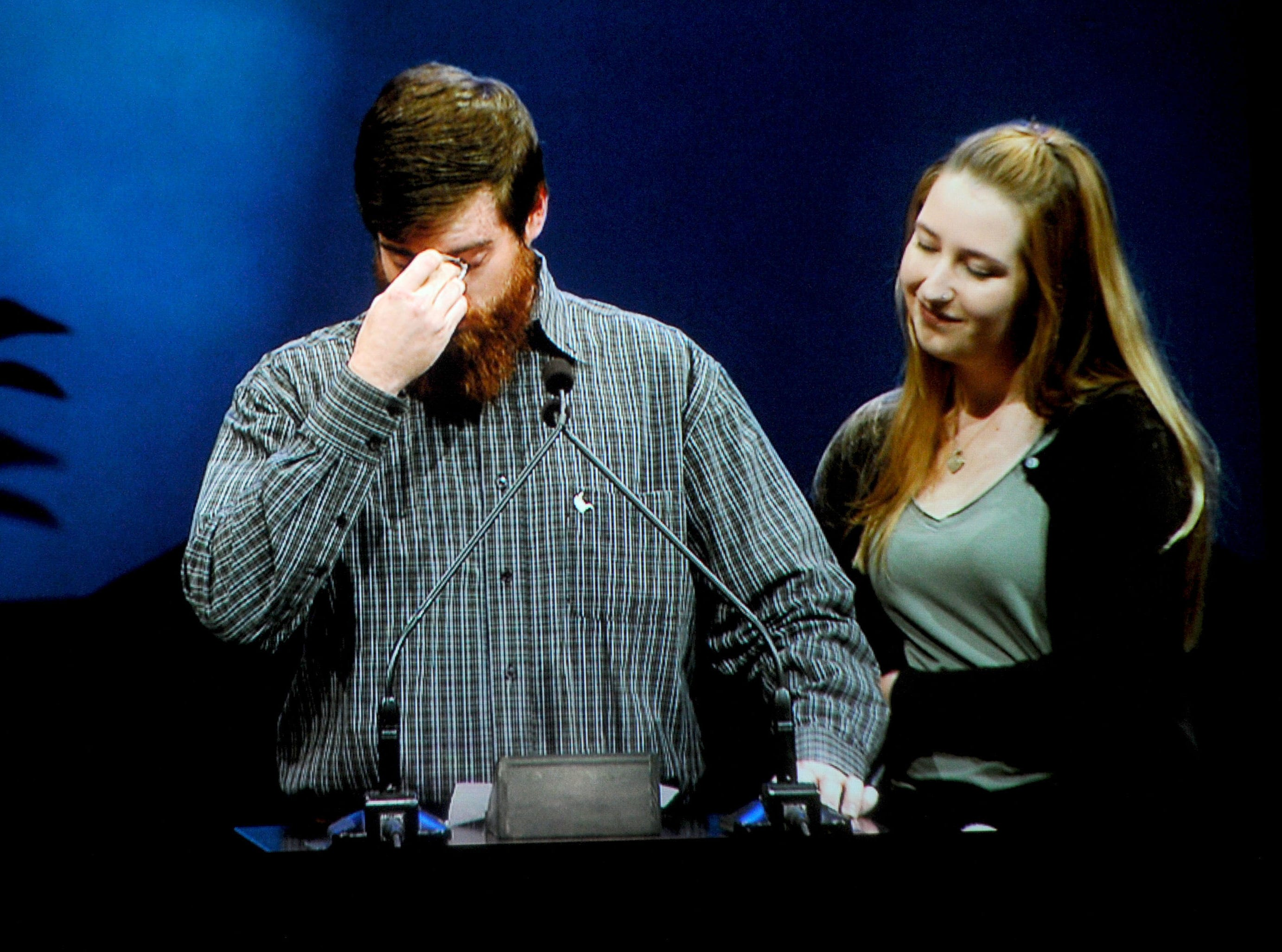 Tony Audenino and Hayely Pelton get emotional as they tell stories at the memorial service for Jake Dunham and Blake Dingman, two of the people slain Nov. 7 at the Borderline Bar & Grill in Thousand Oaks. The memorial service was at Calvary Community Church in Westlake Village.
