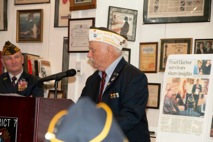 Tony Boucher, chairman of the VFW Museum of Military History in Simi Valley, talks to the audience during a commemoration of the 77th anniversary of the attack at Pearl Harbor, Hawaii. The event took place at the VFW Museum of Military History in Simi Valley on Dec. 7. Standing at Boucher's left is retired U.S. Army Lt. Col. Martin Spann, a decorated veteran who has been awarded two Bronze Stars and a Purple Heart for wounds while deployed to Iraq.