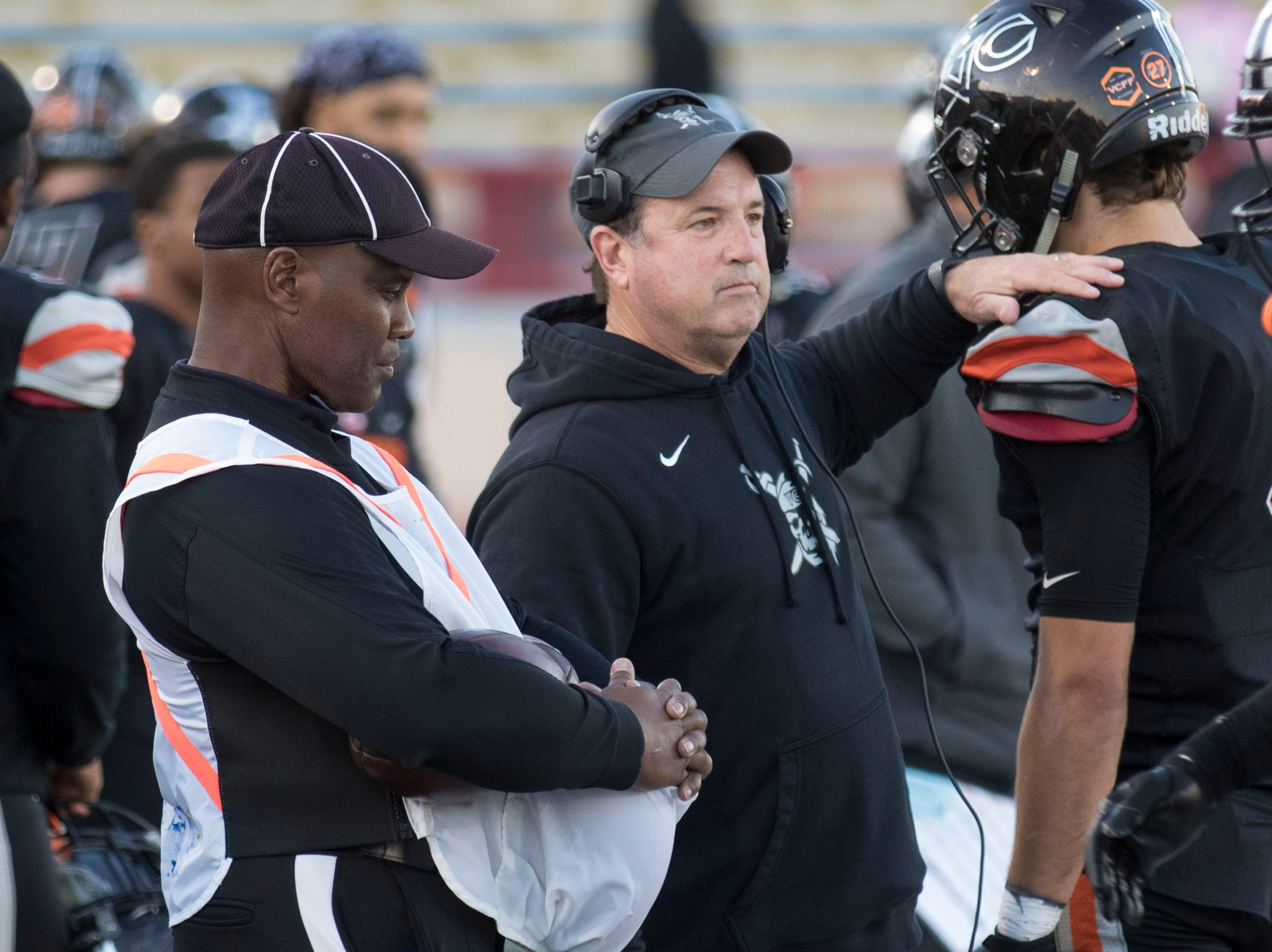 Ventura College head coach Steve Mooshagian watches from the sideline during the CCCAA state championship game on Saturday afternoon at Sacramento City's Hughes Stadium. Laney won, 40-35.