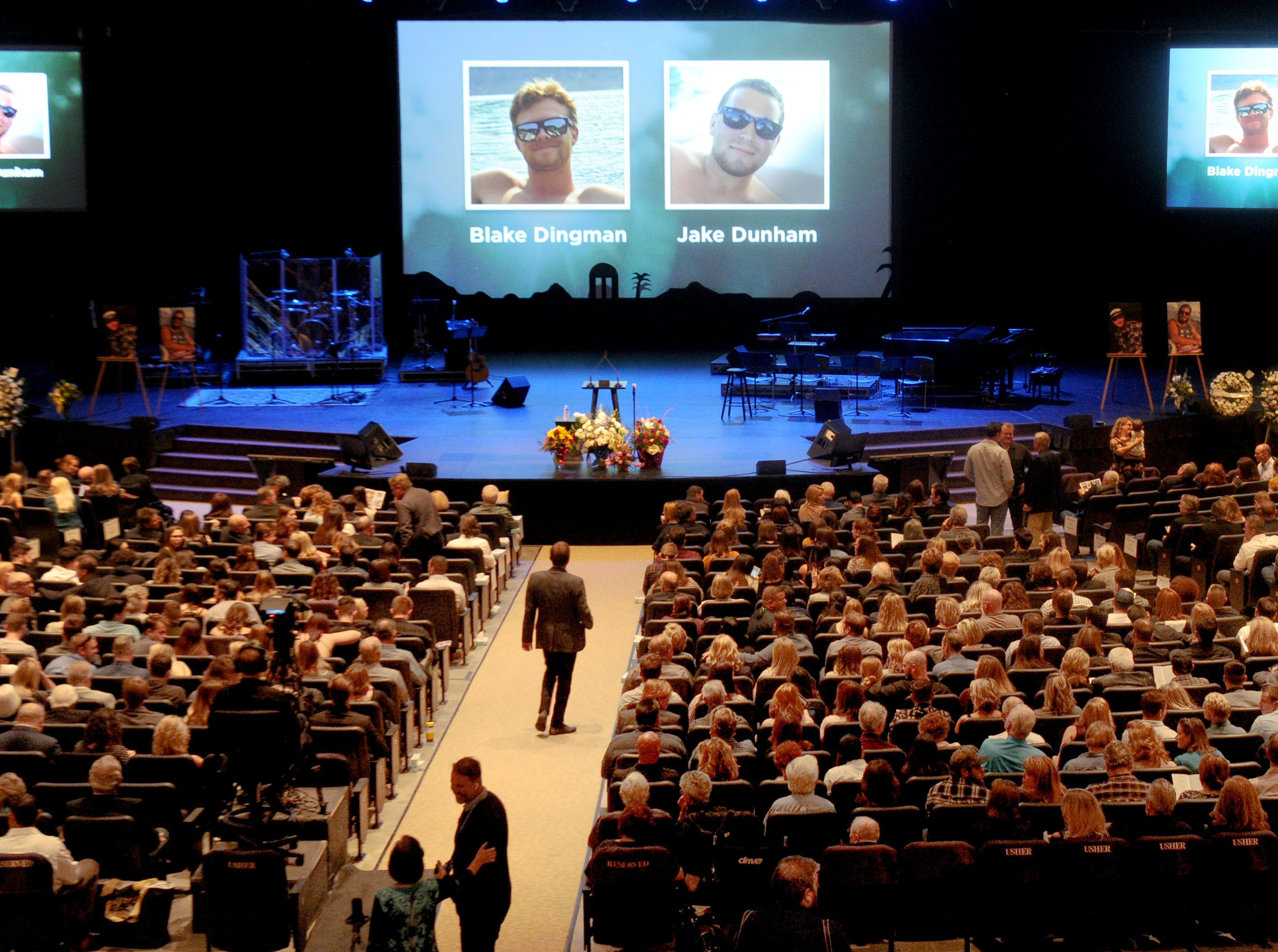 The memorial service for Borderline Bar & Grill shooting victims Blake Dingman and Jake Dunham was held at Calvary Community Church in Westlake Village.
