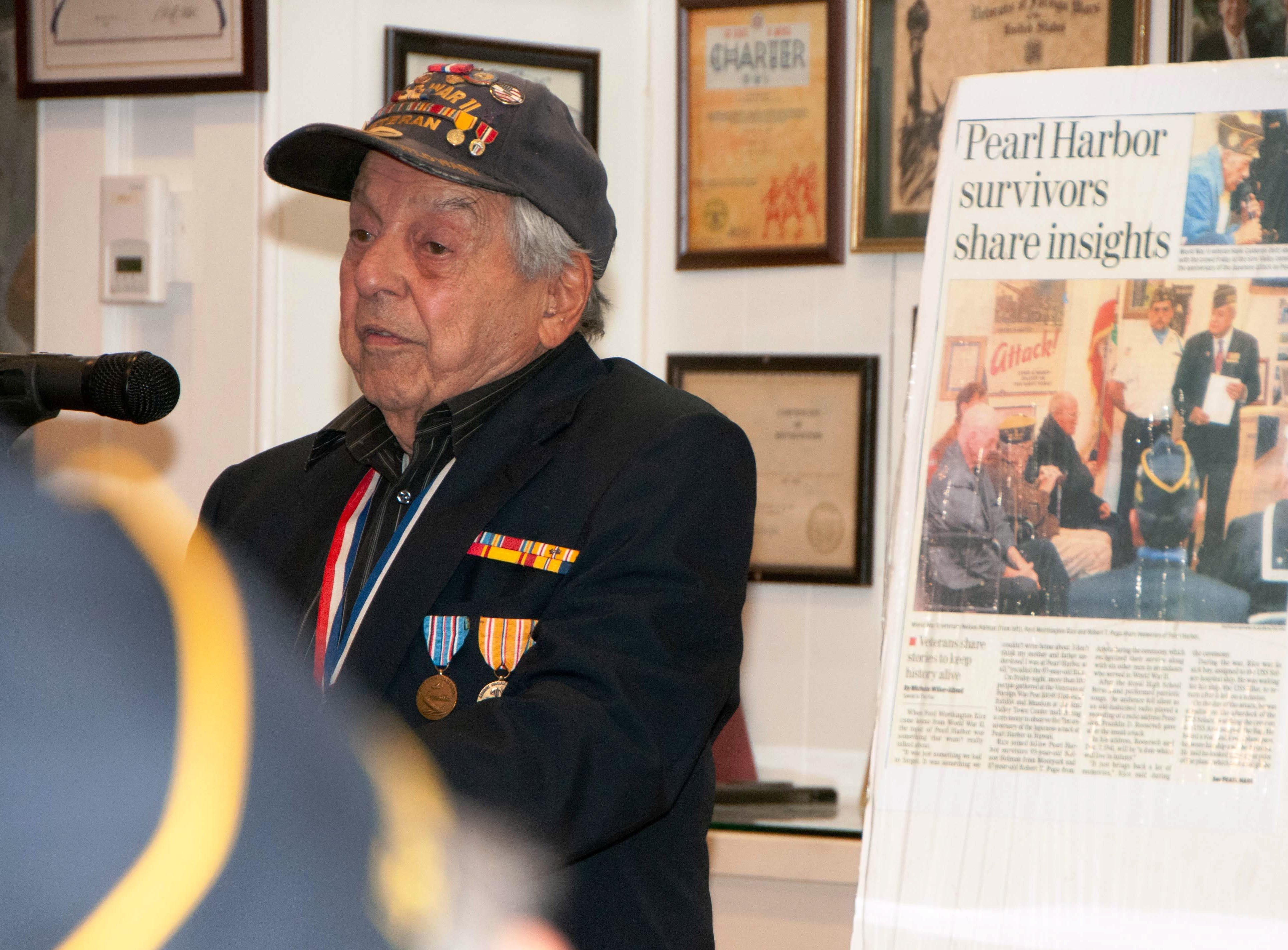 Barney P. Leone, a 94-year-old veteran of World War II, was a guest speaker during a commemoration of the 77th anniversary of the attack at Pearl Harbor, Hawaii. The event took place at the VFW Museum of Military History in Simi Valley on Dec. 7.