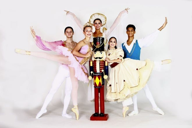 """(From left) Trey Luciano of Vineland at the Prince, Nicole Cullis of Vineland as the Sugar Plum Fairy, Alexandra Bisignaro of Vineland as the Angel of Dreams, Addison Mancill of Vineland as Clara, and Logan Littleton of Clayton as the Cavalier will be featured in the Vineland Regional Dance Company's production of """"The Nutcracker Ballet."""""""