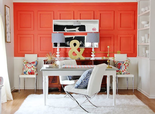 """Coral is a great accent color and is often used to bring pops of color into more neutral spaces,"" says Sue Wadden, director of color marketing at Sherwin-Williams. ""If you want to go bold, but not overcommit, try using Coral Reef SW 6606 to paint the kitchen island, as an accent wall or within artwork in the room."""