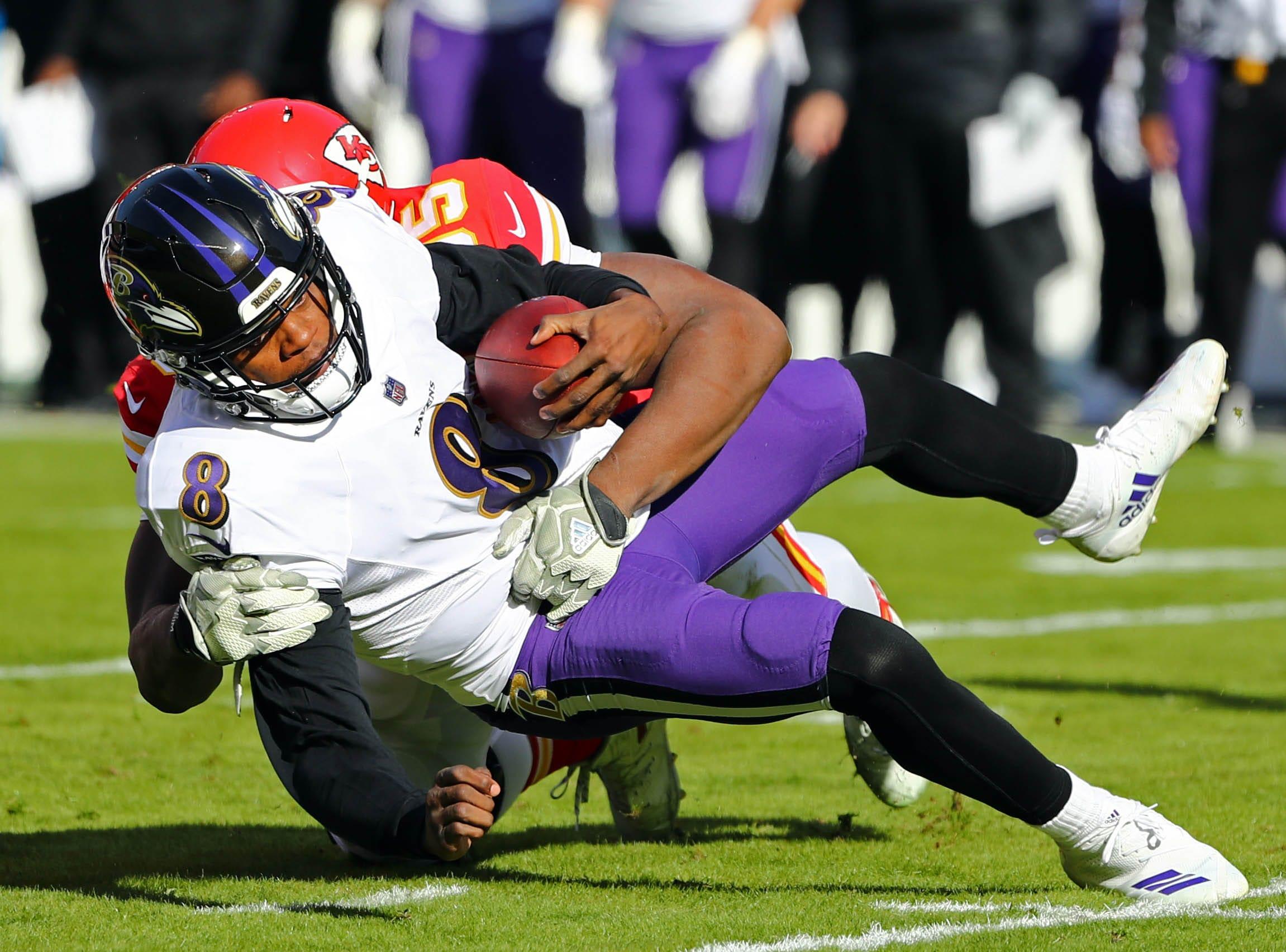 Ravens quarterback Lamar Jackson is sacked byChiefs defensive end Chris Jones.