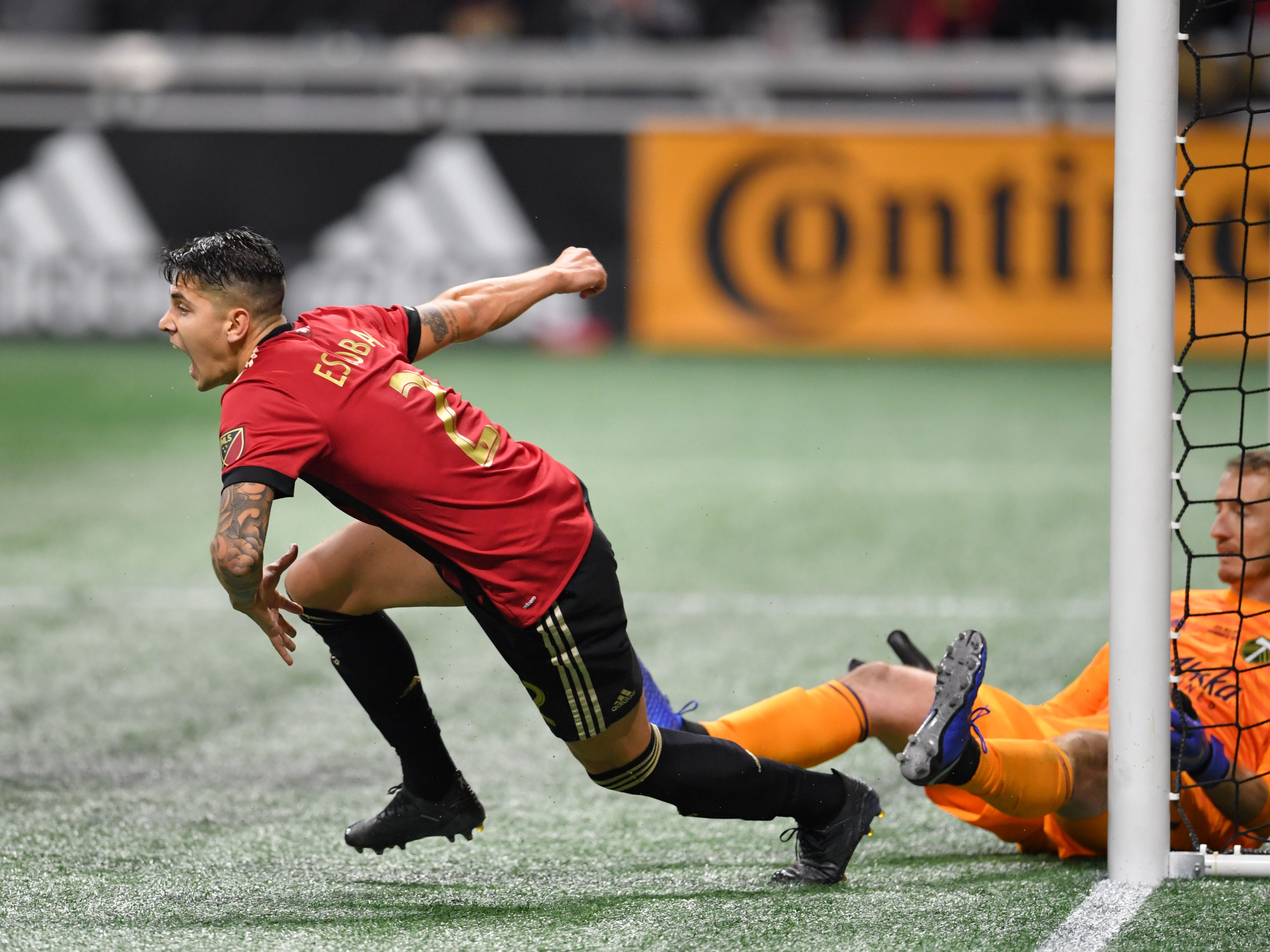 Atlanta United defender Franco Escobar celebrates after scoring past Portland Timbers goalkeeper Jeff Attinella (1) in the second half in the 2018 MLS Cup.