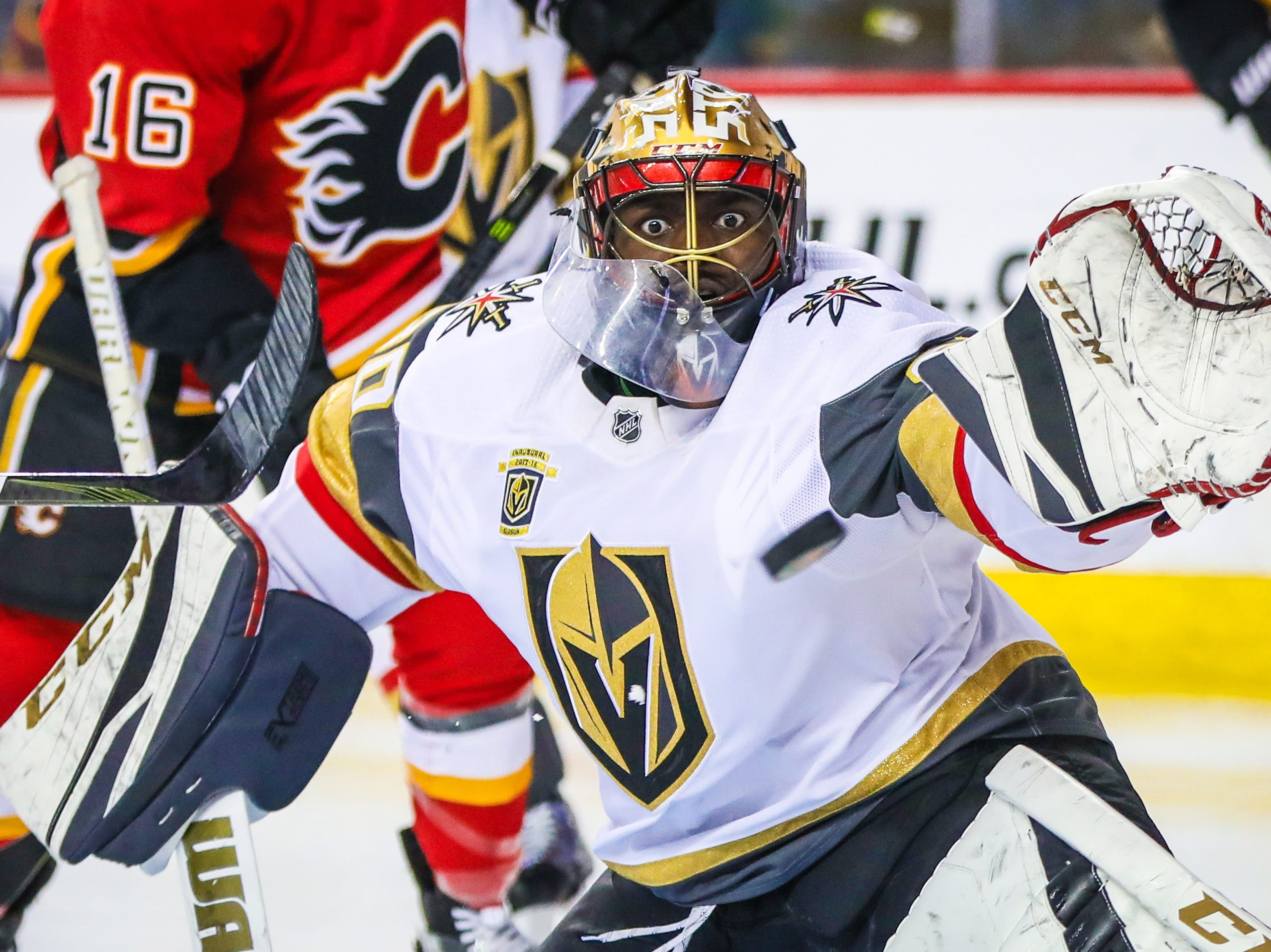 April 7: Vegas Golden Knights goaltender Malcolm Subban (30) makes a save against the Calgary Flames during the third period at Scotiabank Saddledome.