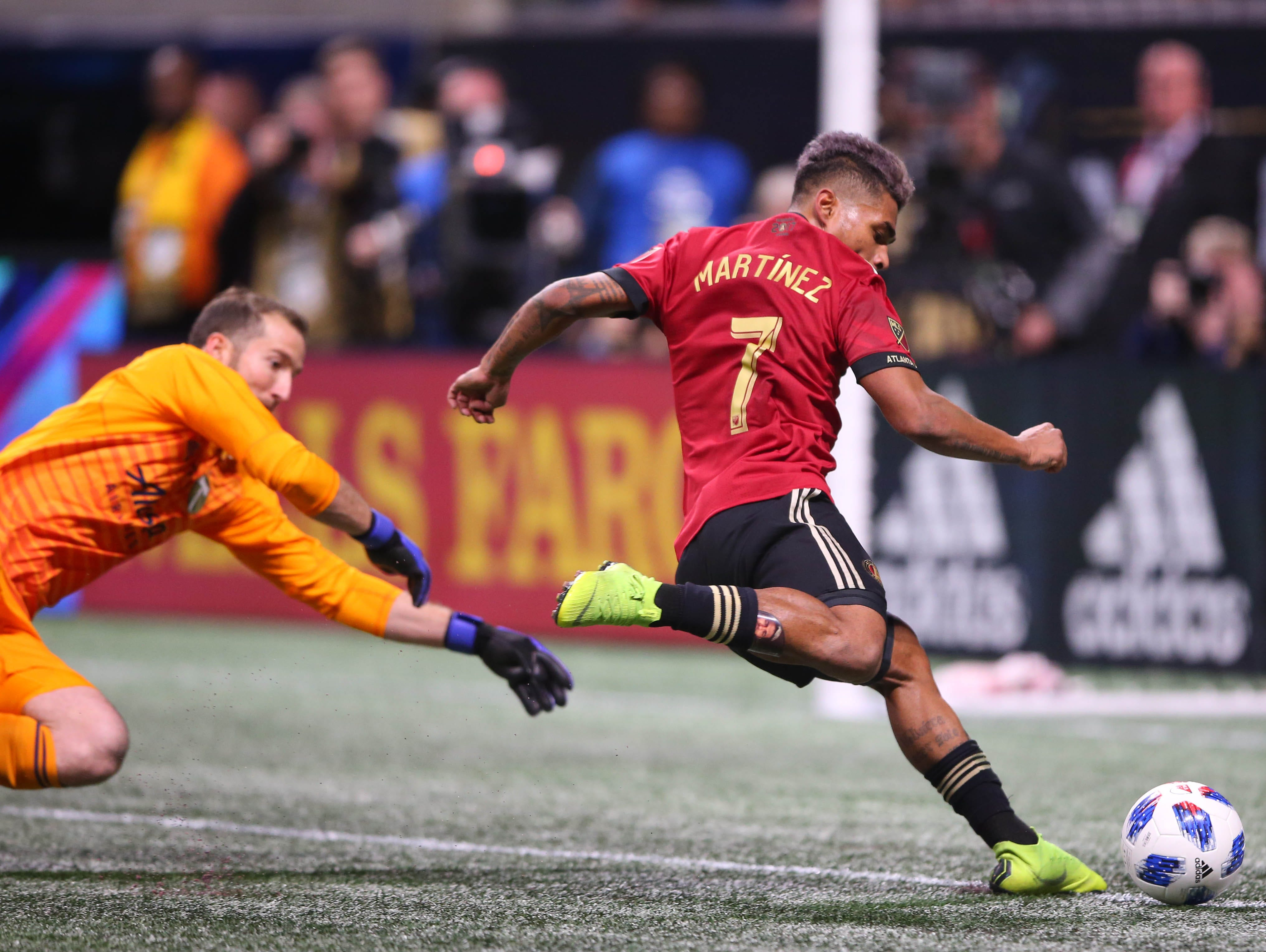 Atlanta United forward Josef Martinez drills a goal past Portland Timbers goalkeeper Jeff Attinella in the 39th minute of the 2018 MLS Cup at Mercedes-Benz Stadium.