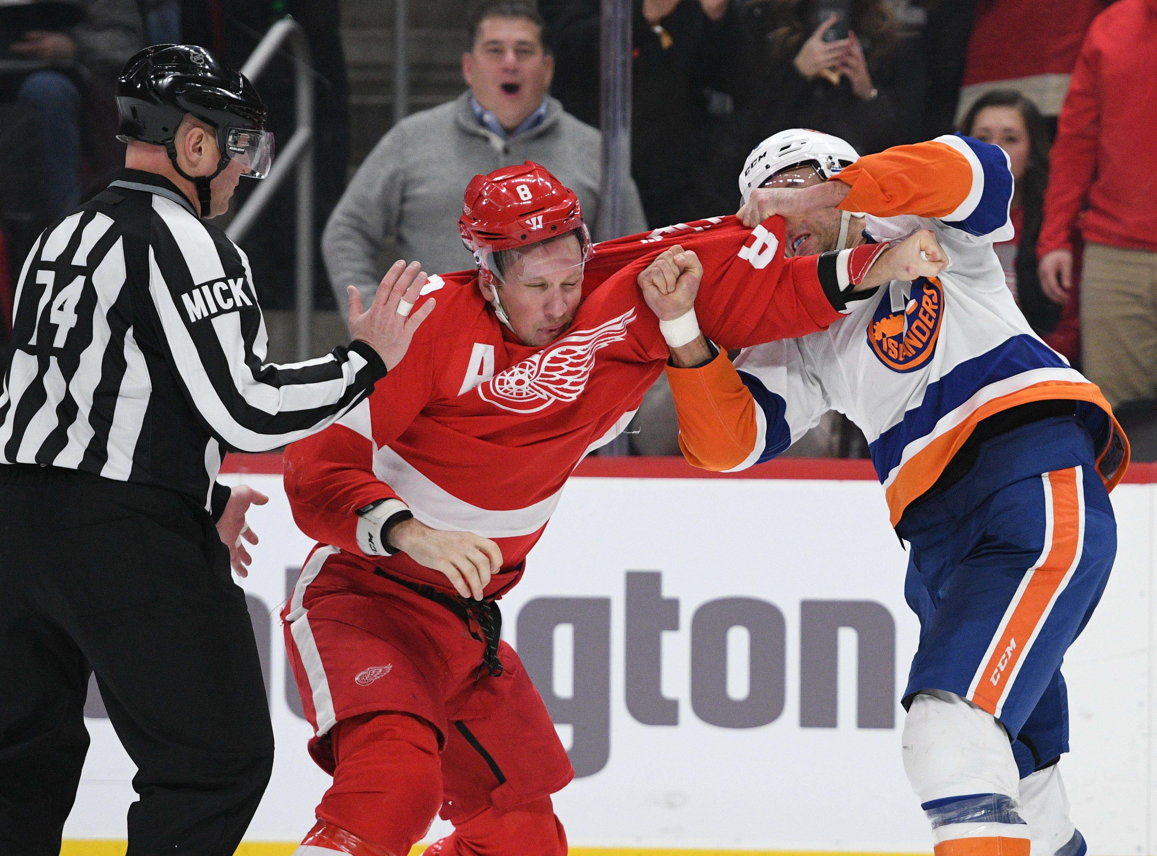 Dec. 8: Detroit Red Wings' Justin Abdelkader vs. New York Islanders' Johnny Boychuk.