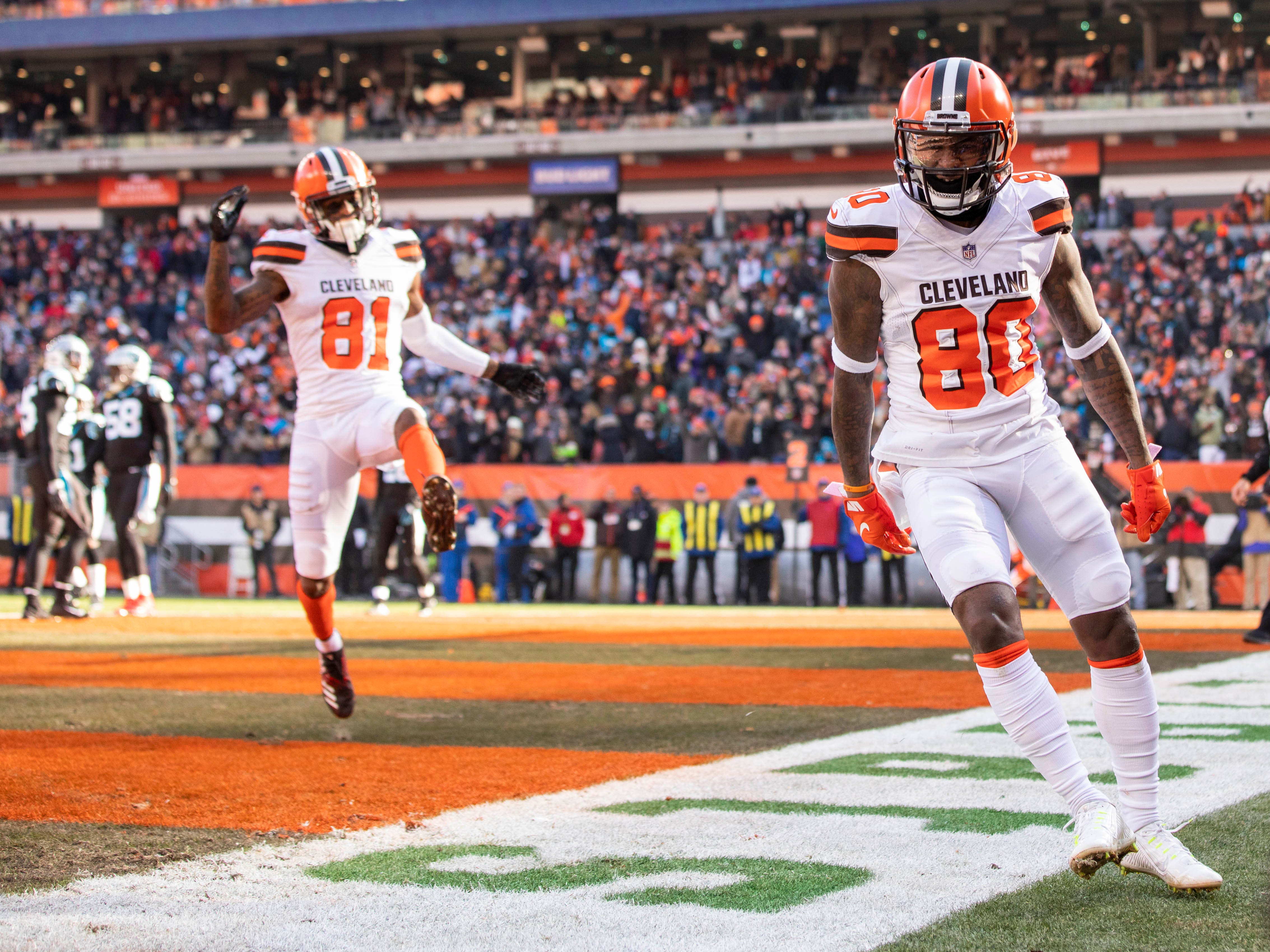 Browns wide receiver Jarvis Landry (80) celebrates after scoring a touchdown against the Panthers.