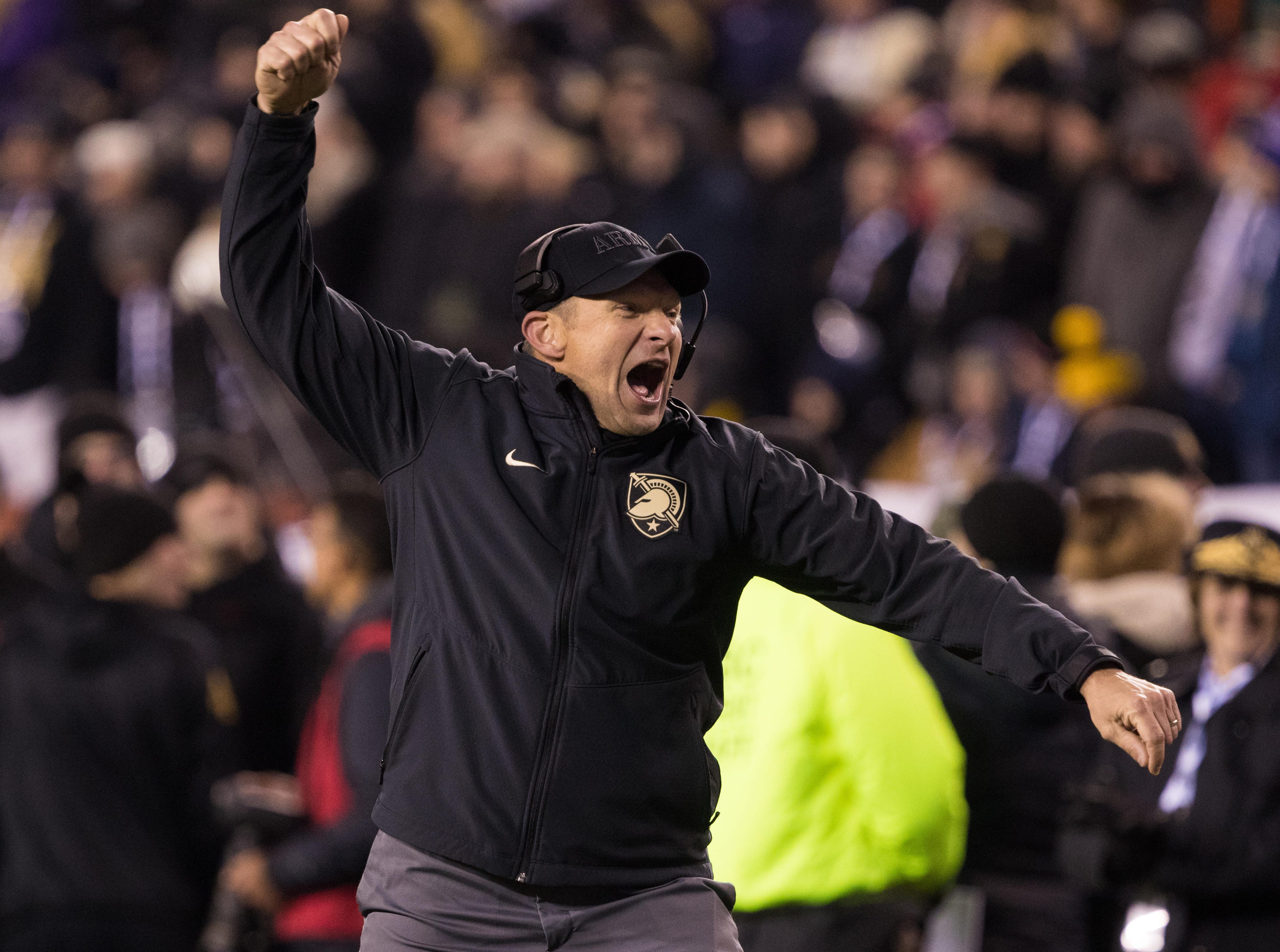 Army Black Knights head coach Jeff Monken reacts during the fourth quarter against the Navy Midshipmen at Lincoln Financial Field.