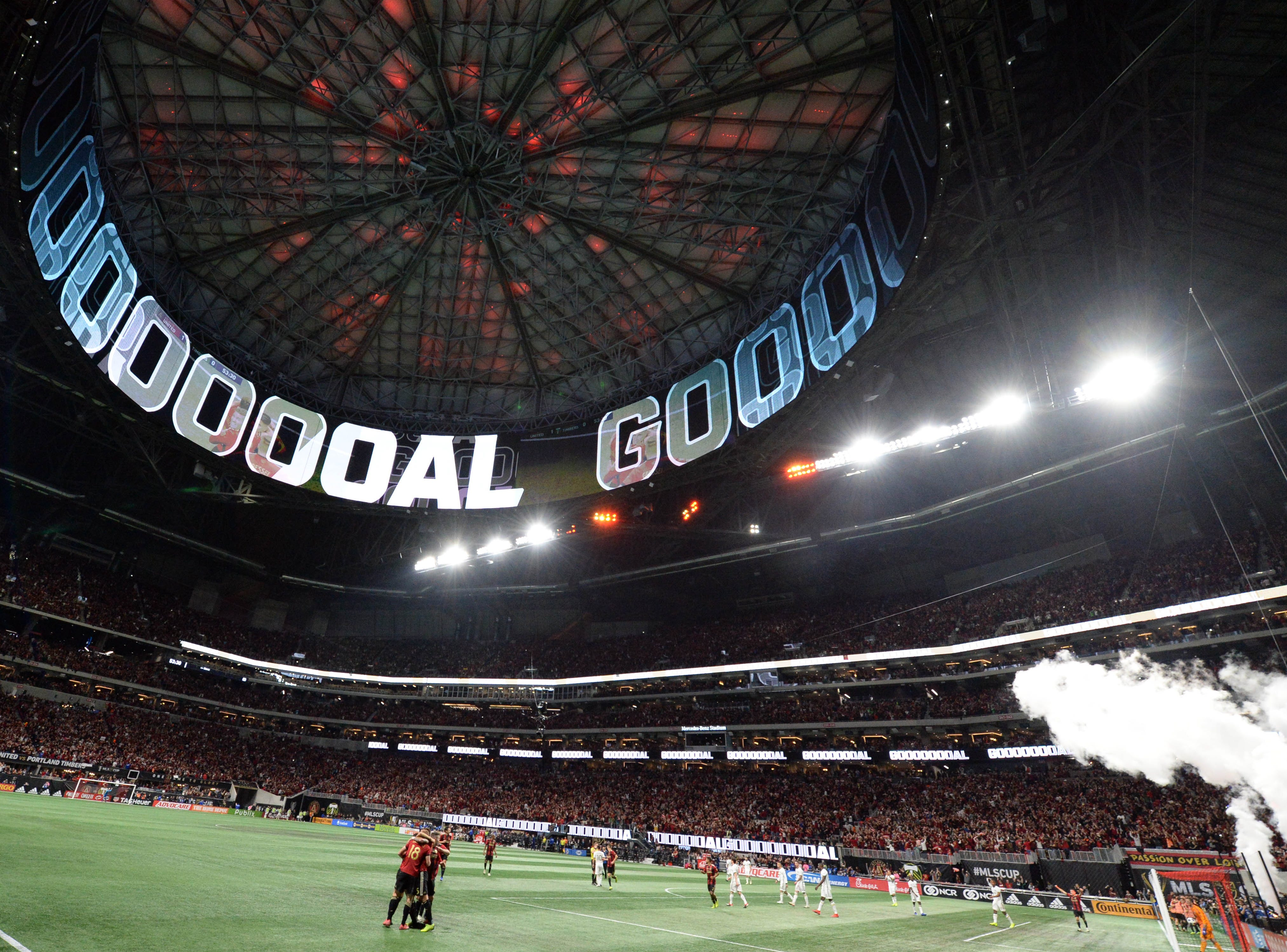 The roof of Mercedes-Benz Stadium celebrates Atlanta United's second goal in the 2018 MLS Cup.