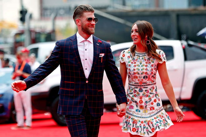 Harper and his wife Kayla arrive before the 2018 All-Star Game in Washington D.C.