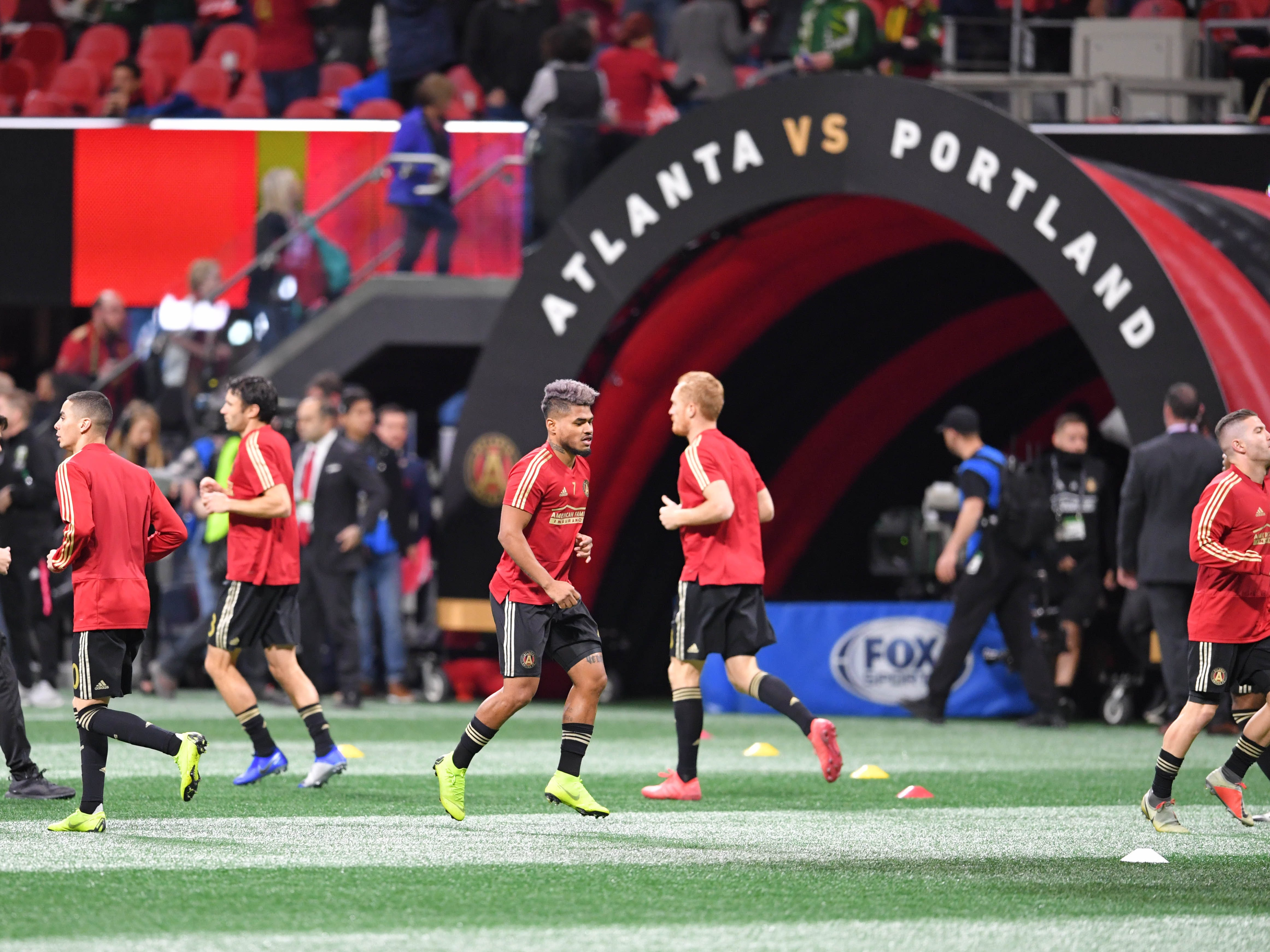 Atlanta United players warm up before the 2018 MLS Cup championship game against the Portland Timbers at Mercedes-Benz Stadium.