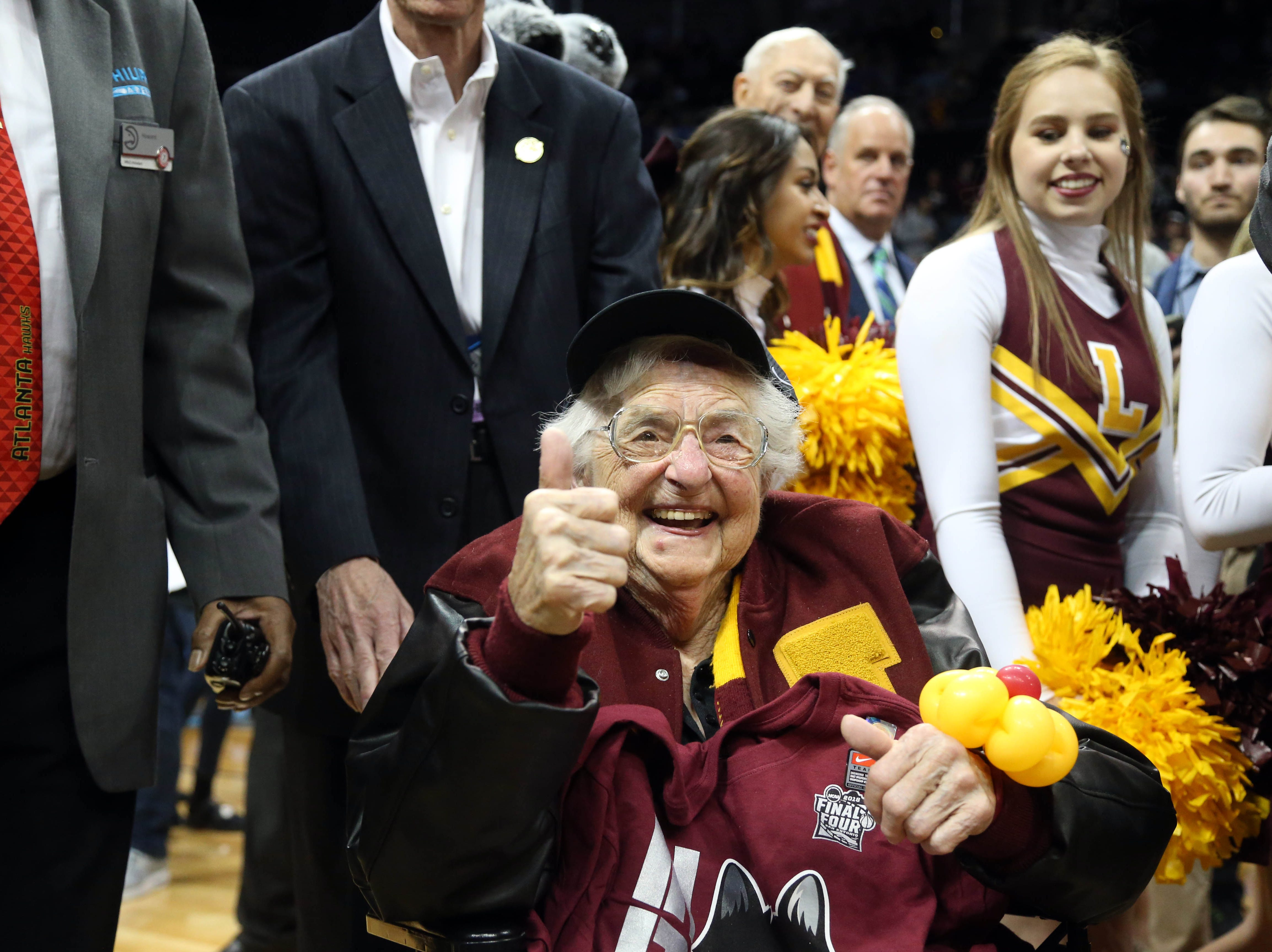 March 24: Loyola-Chicago team chaplain Sister Jean celebrates after the Ramblers defeated Kansas State in the Elite Eight.