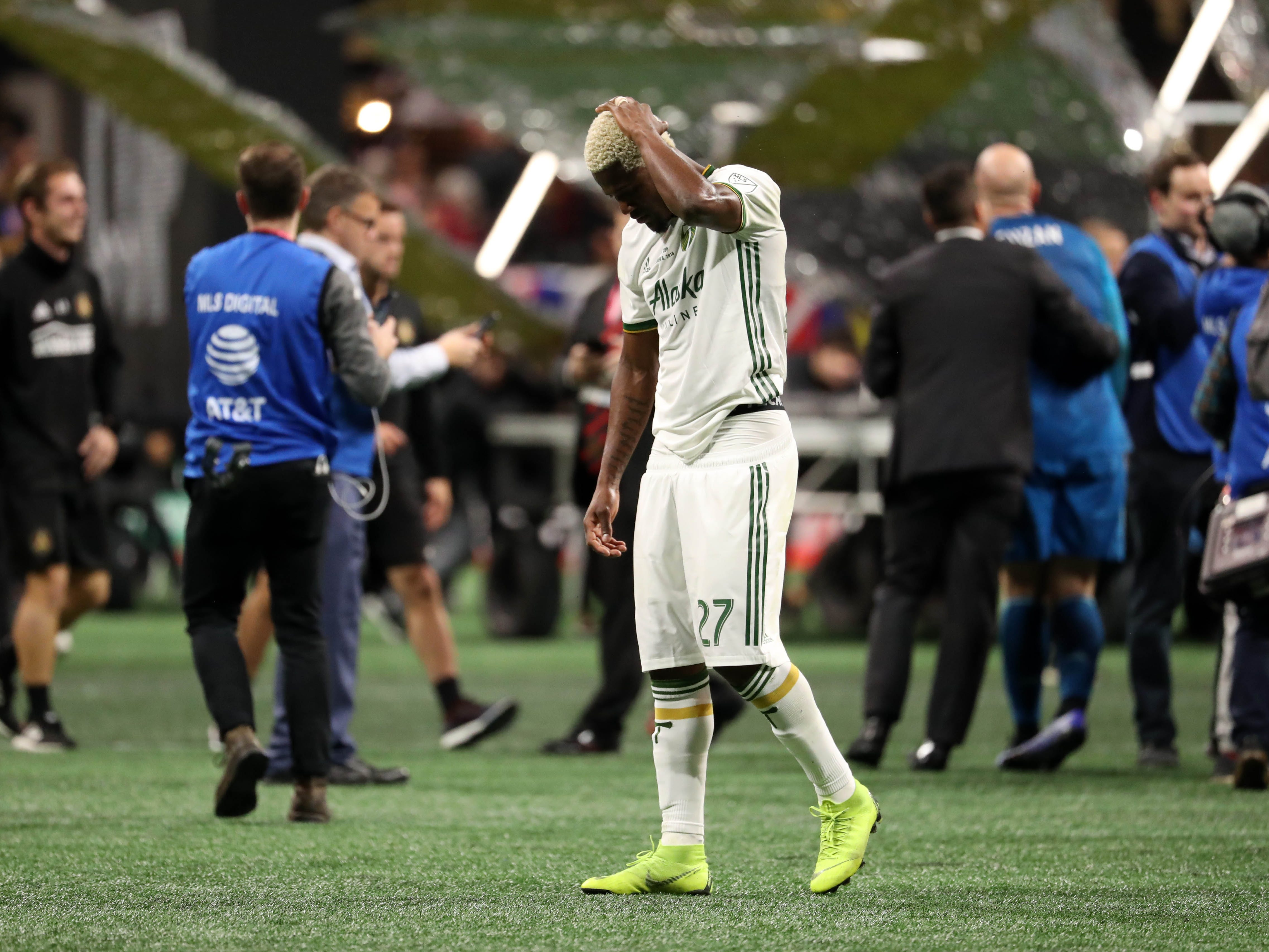 Portland Timbers forward Dairon Asprilla reacts after the 2-0 loss to the Atlanta United in the 2018 MLS Cup.