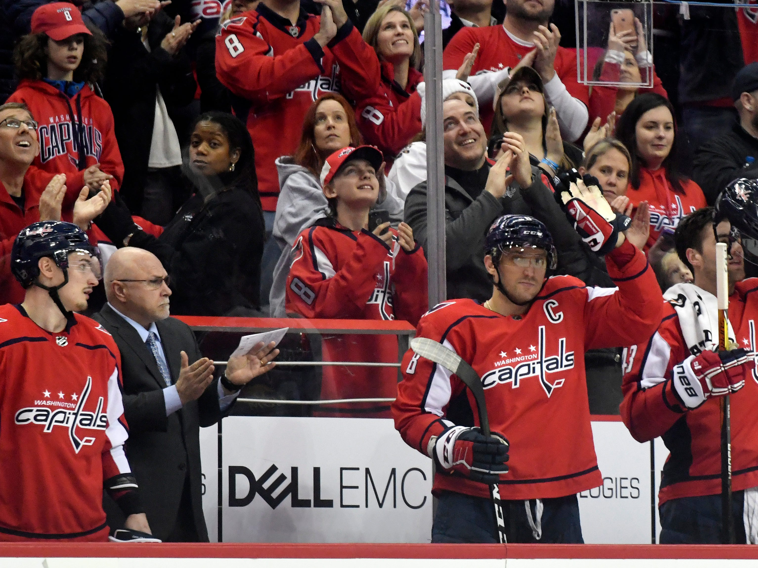 March 12: Washington Capitals left wing Alex Ovechkin (8) salutes the crowd after scoring his 600th career goal.