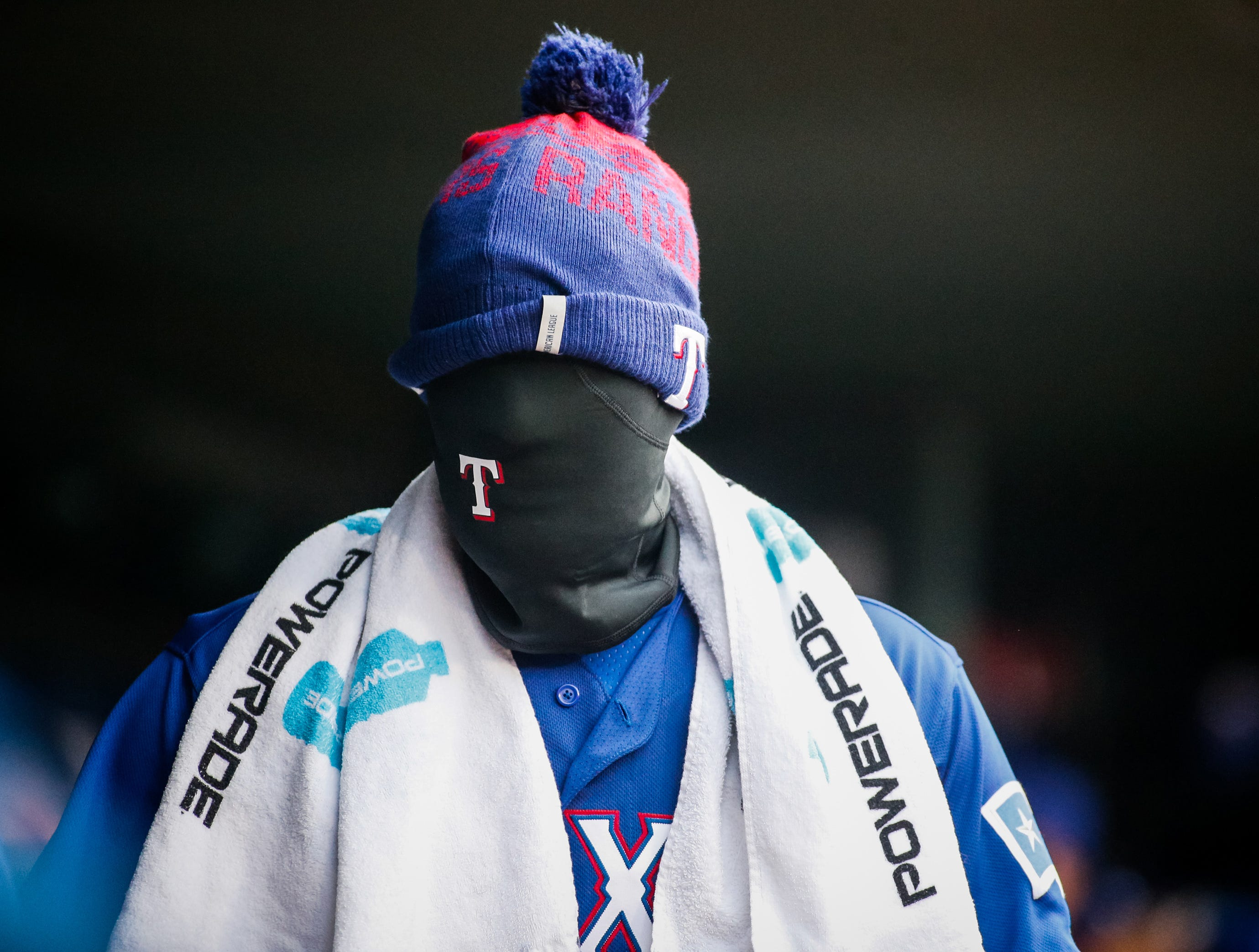 April 7: Texas Rangers right fielder Nomar Mazara makes his way into the dugout prior to a game against the Toronto Blue Jays at Globe Life Park in Arlington.