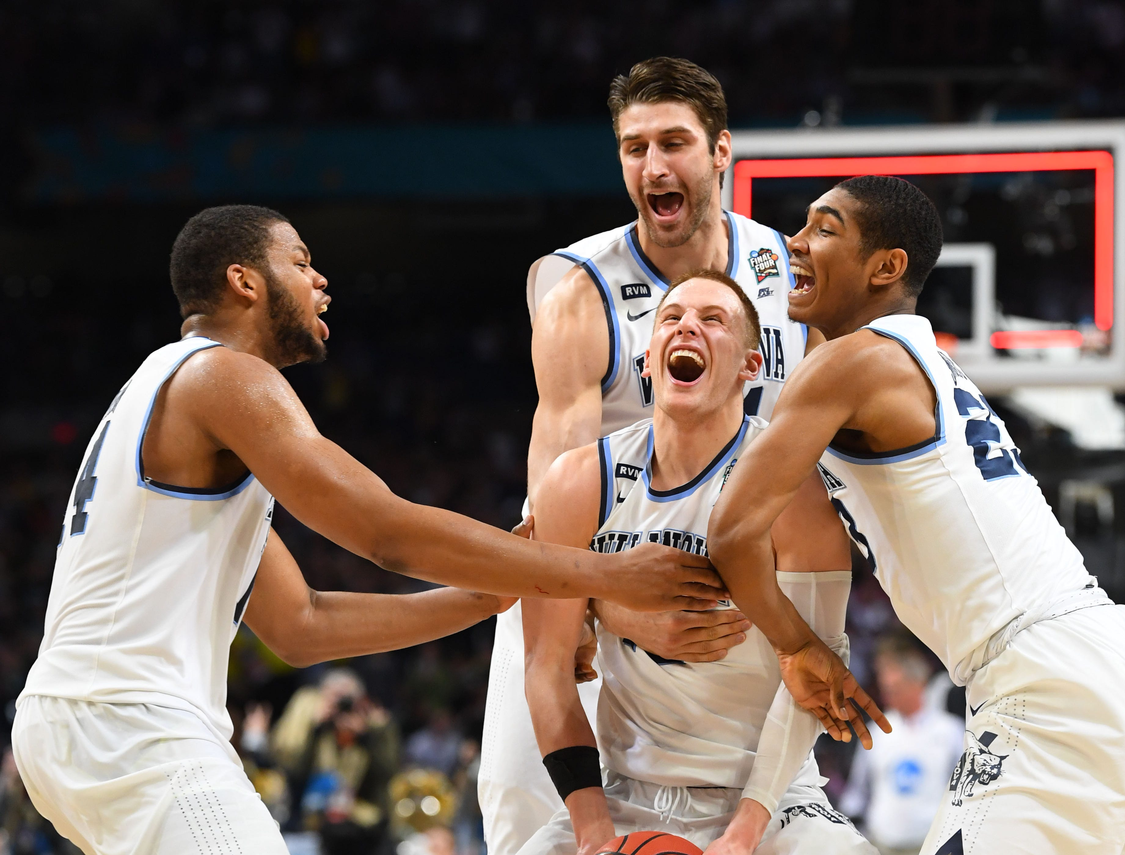 April 2: Donte DiVincenzo and the Villanova Wildcats celebrate after defeating the Michigan Wolverines in the national title game.
