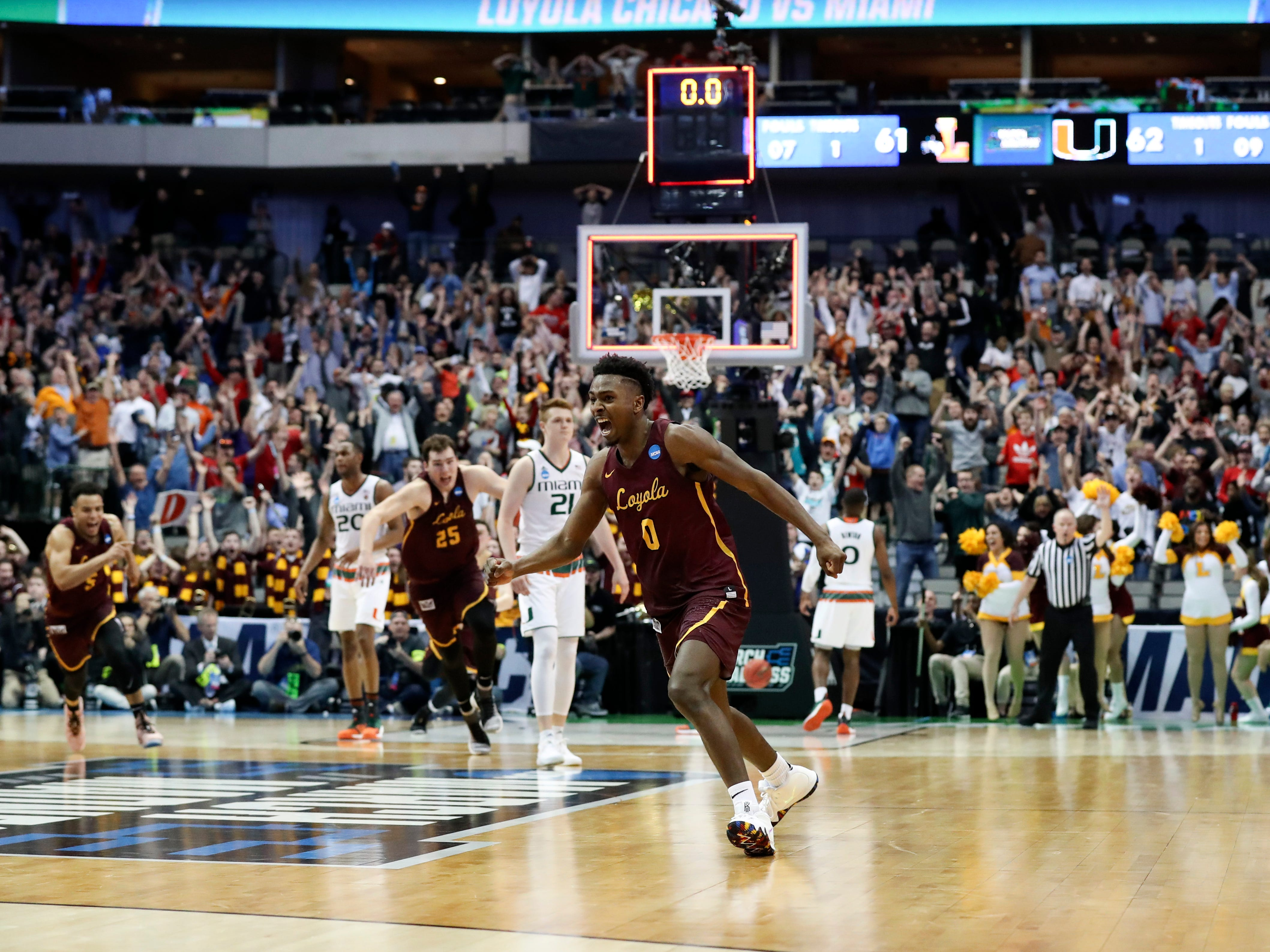 March 15: Loyola-Chicago guard Donte Ingram (0) celebrates after hitting the game-winning shot against the Miami (Fl) Hurricanes in the first round of the NCAA tournament.