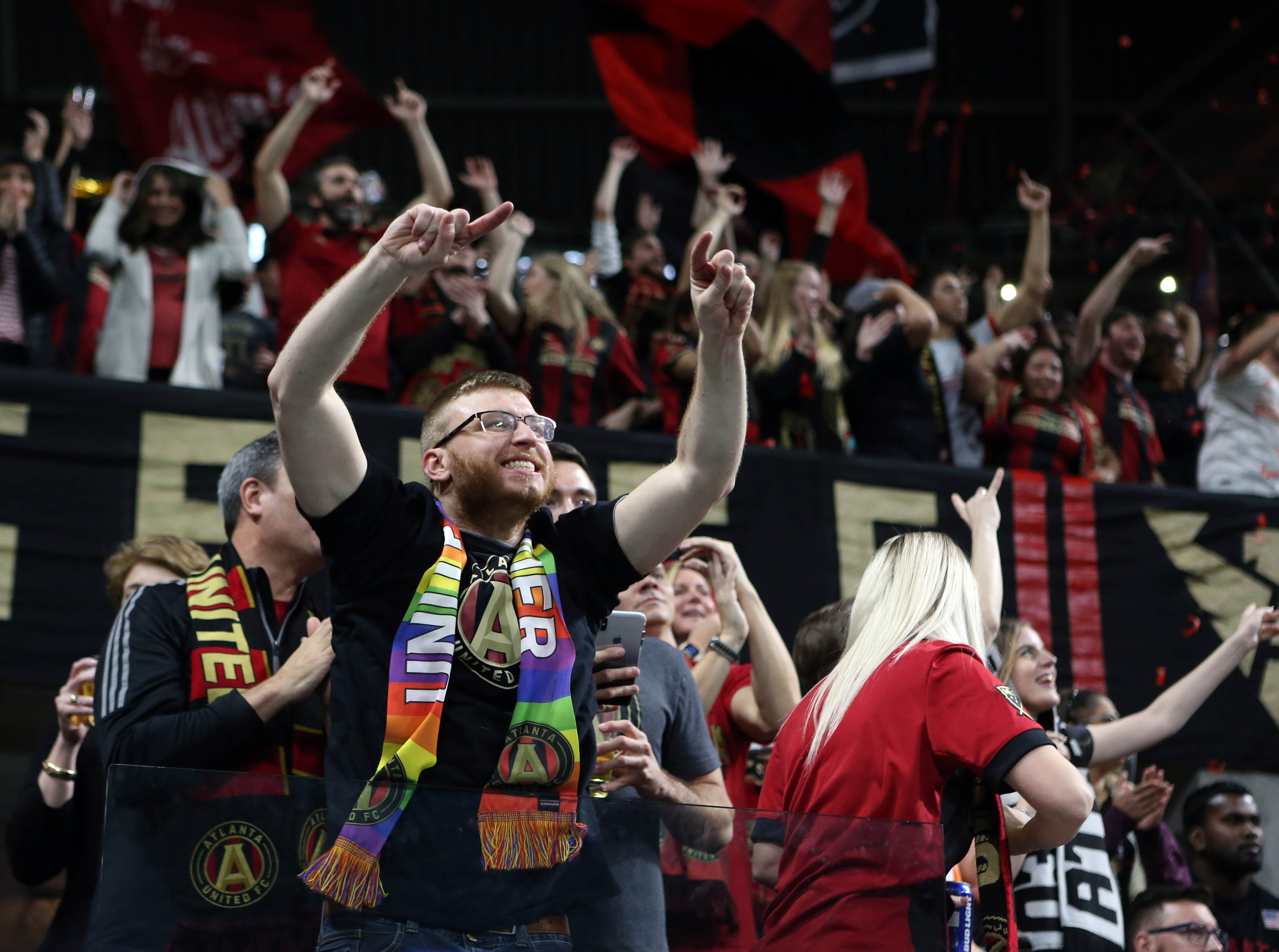 Atlanta fans celebrate after the Atlanta United defeated the Portland Timbers 2-0 to win the 2018 MLS Cup.