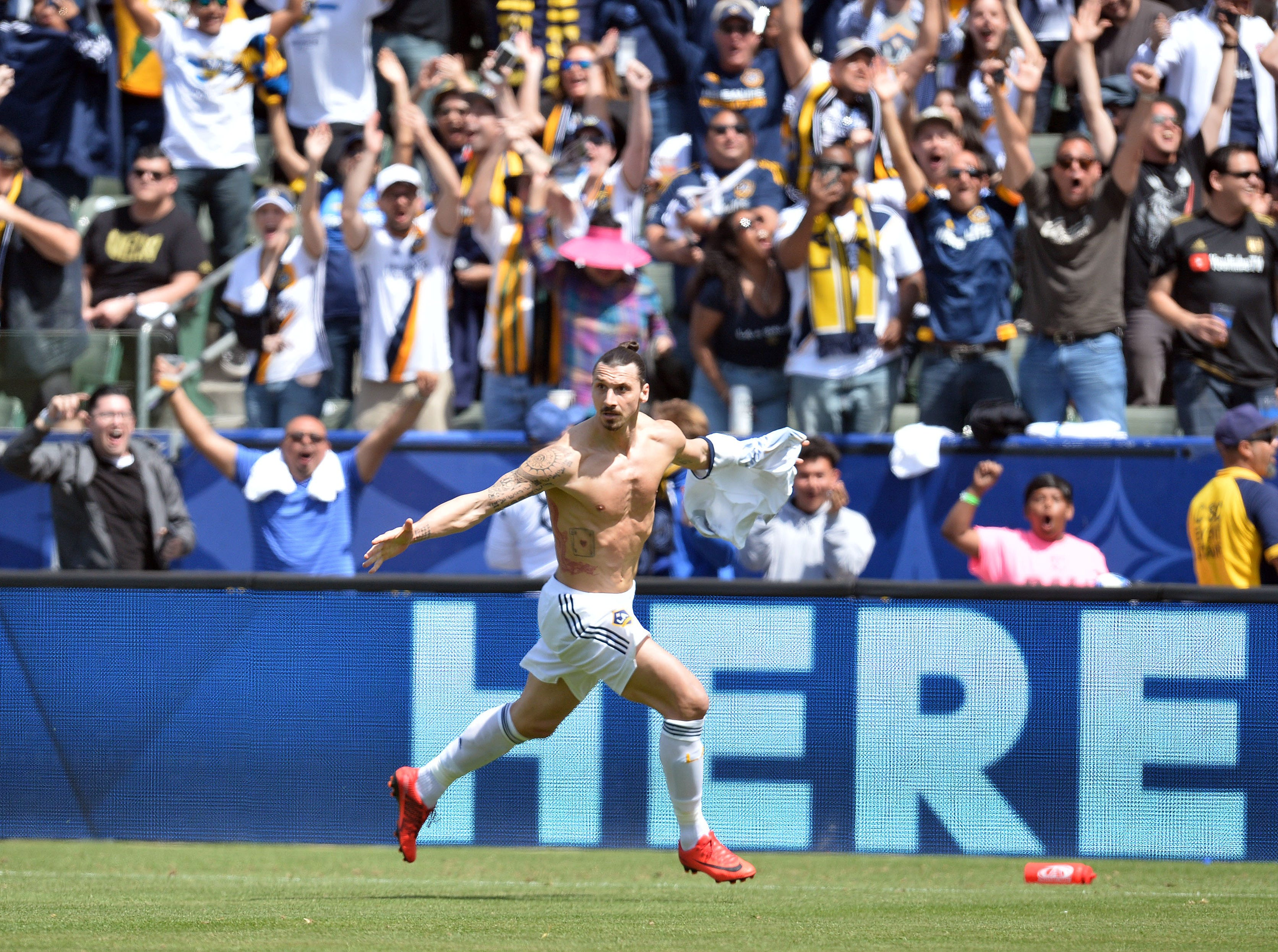 March 31: Los Angeles Galaxy forward Zlatan Ibrahimovic (9) celebrates his incredible goal against LAFC.