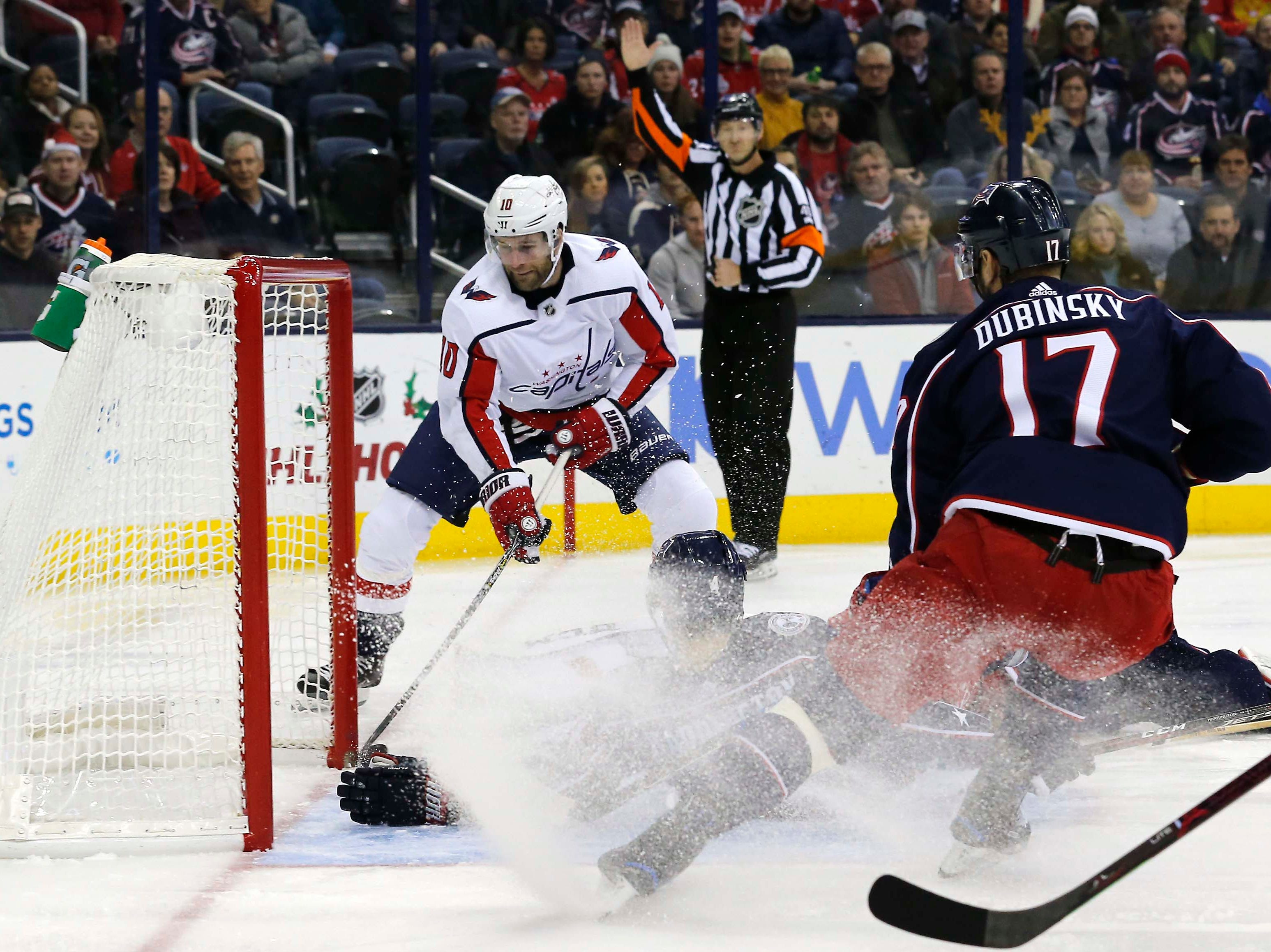 Dec. 8: Washington Capitals right wing Brett Connolly (10) slides the puck past Columbus Blue Jackets goalie Sergei Bobrovsky (72) for a goal during the first period at Nationwide Arena.