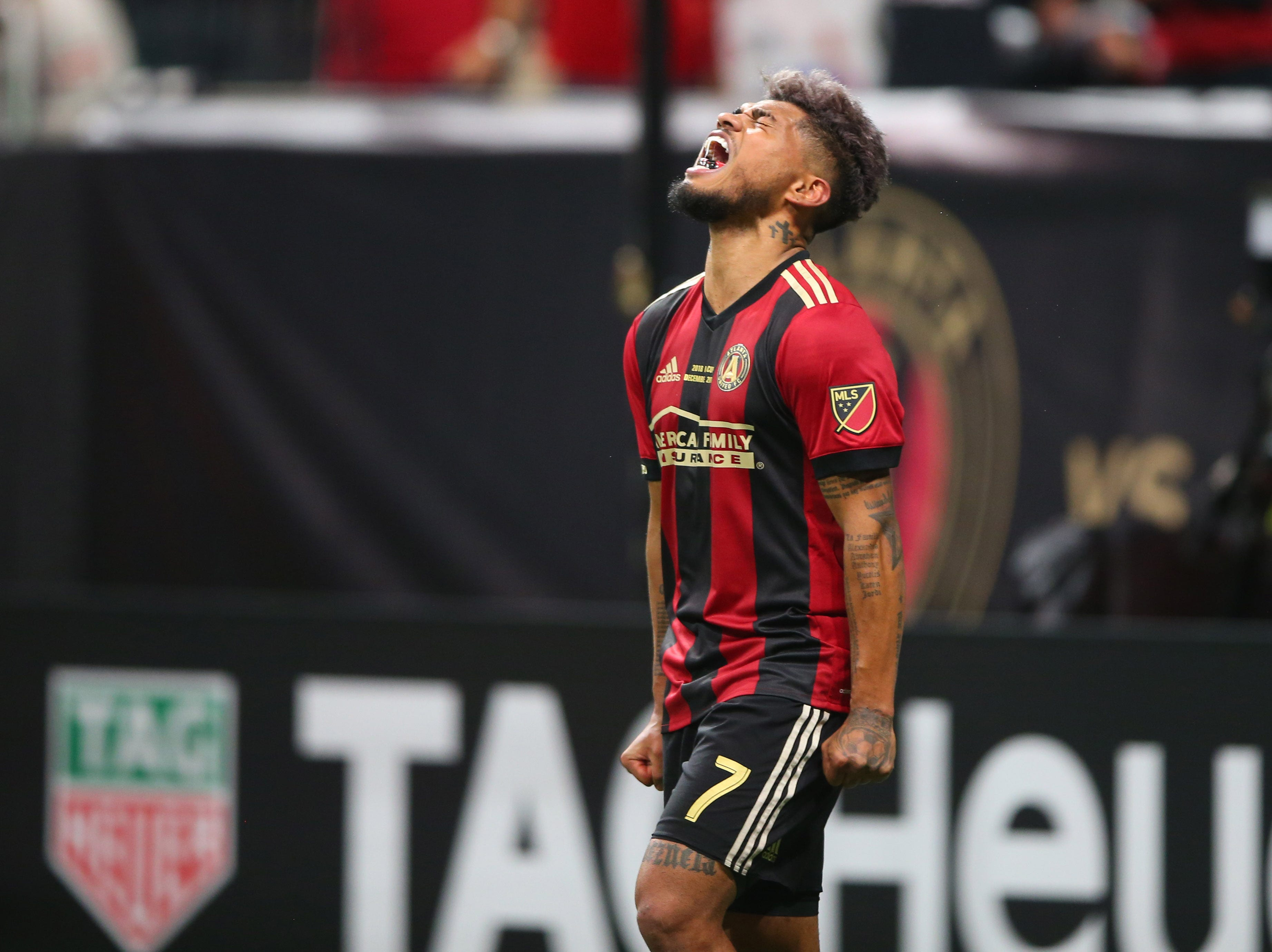 Atlanta United forward Josef Martinez celebrates after scoring a first-half goal against the Portland Timbers in the 2018 MLS Cup championship game at Mercedes-Benz Stadium.