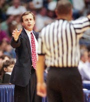 Clemson head coach Rick Barnes coaches against Minnesota during the 1997 NCAA Midwest Regional Semifinal on Thursday, March 20, 1997 at the Alamodome in San Antonio Texas. The Tigers lost to number 1 seed Minnesota 90-84 in double overtime.