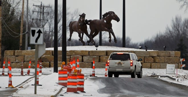 Two horses are now in place at the new roundabout at Casaloma Drive and Victory Lane in Grand Chute.