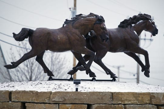 A closer look at two bronze horses now in place on the new roundabout at Casaloma Drive and Victory Lane in Grand Chute.