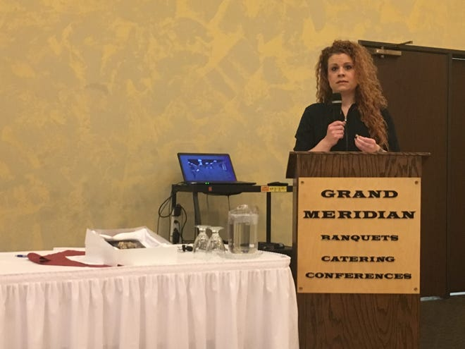 Melissa Ludin shares her experiences of being incarcerated at the annual brunch hosted by the League of Women Voters Saturday at the Grand Meridian in Appleton.