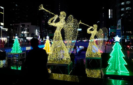 Christmas decorations in Seoul, capital of South Korea, in Dec. 2018. About 15 million of South Korea's 51 million people are Christians.
