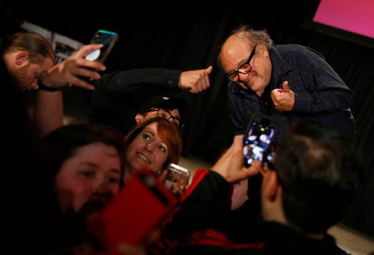 Actor and Asbury Park native Danny DeVito mugs with fans after his Asbury Park Music + Film Festival show at the Paramount Theater in Asbury Park Saturday, April 28, 2108.